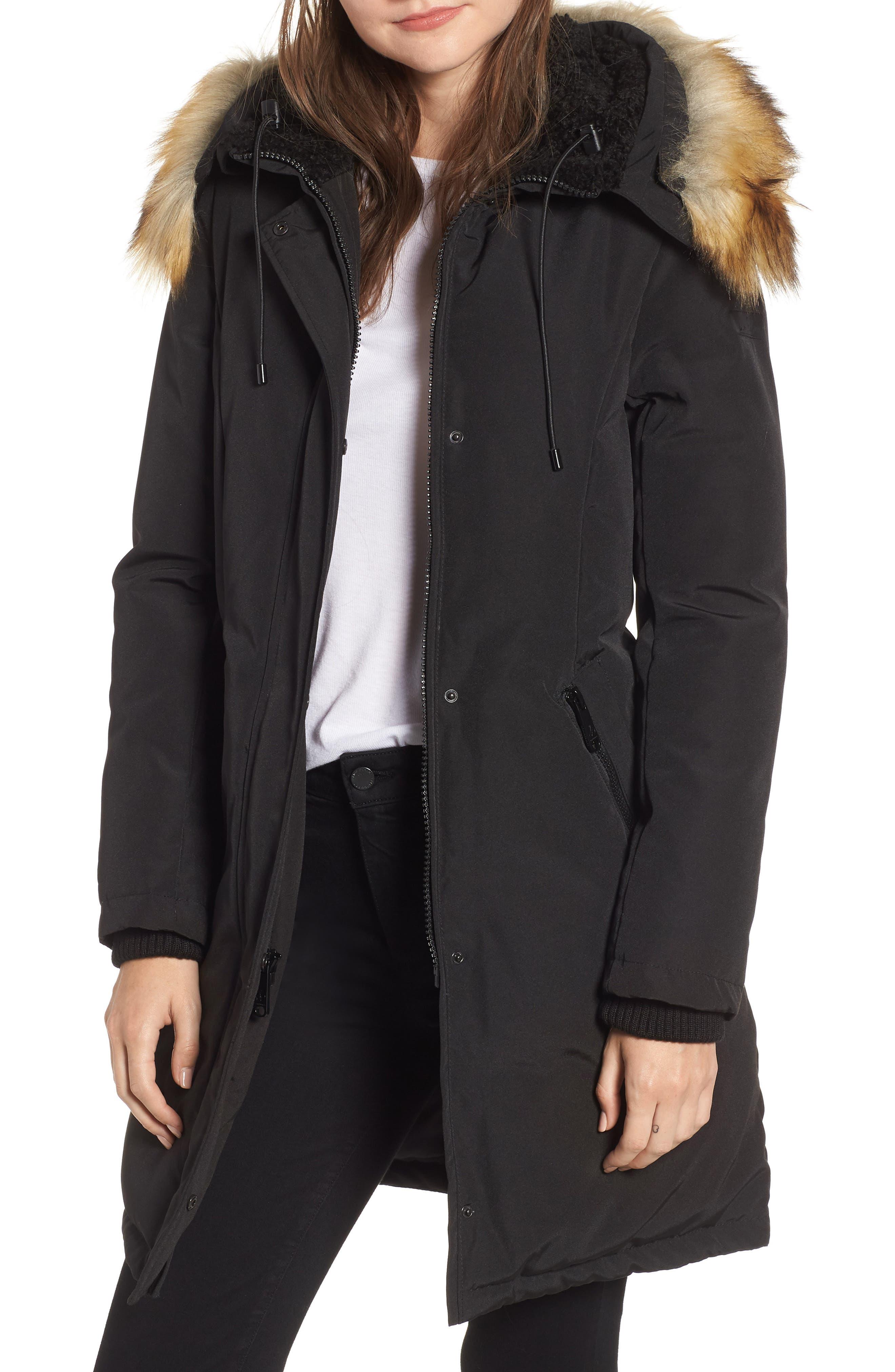 Faux Fur Trim Down Jacket,                             Main thumbnail 1, color,                             BLACK