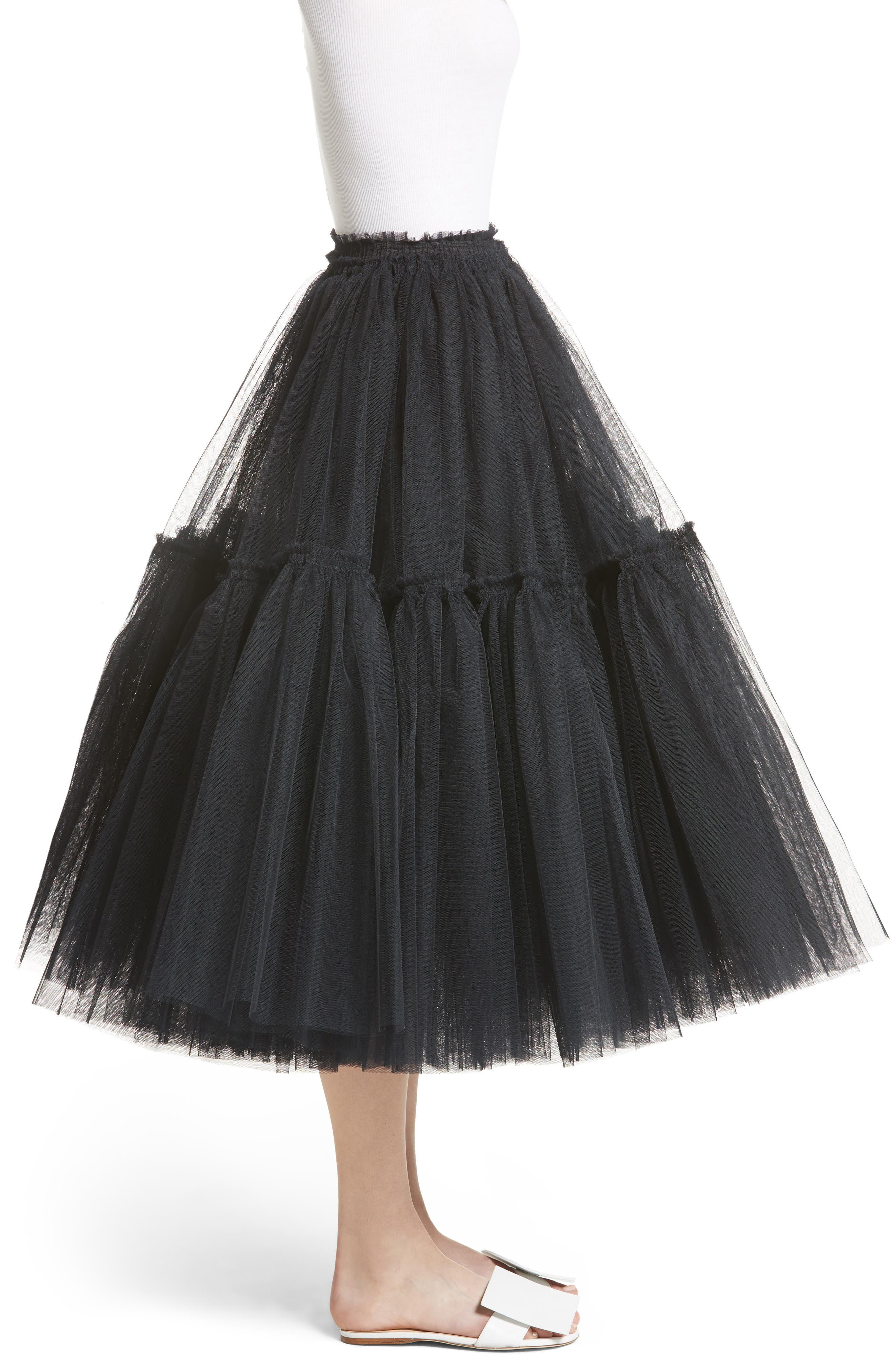 Gathered Tulle Skirt,                             Alternate thumbnail 3, color,                             001