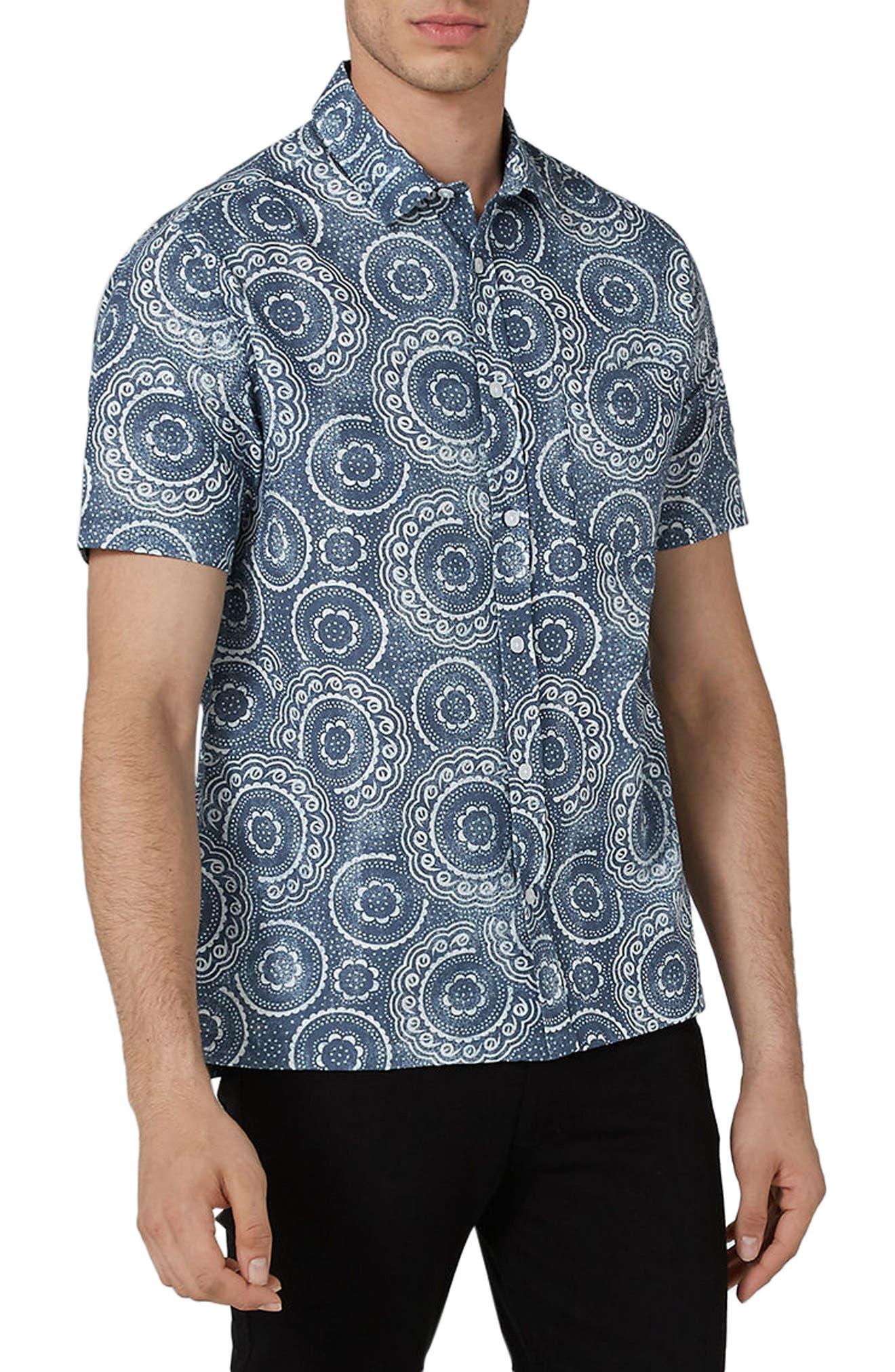 Trim Fit Circle Print Woven Shirt,                             Main thumbnail 1, color,