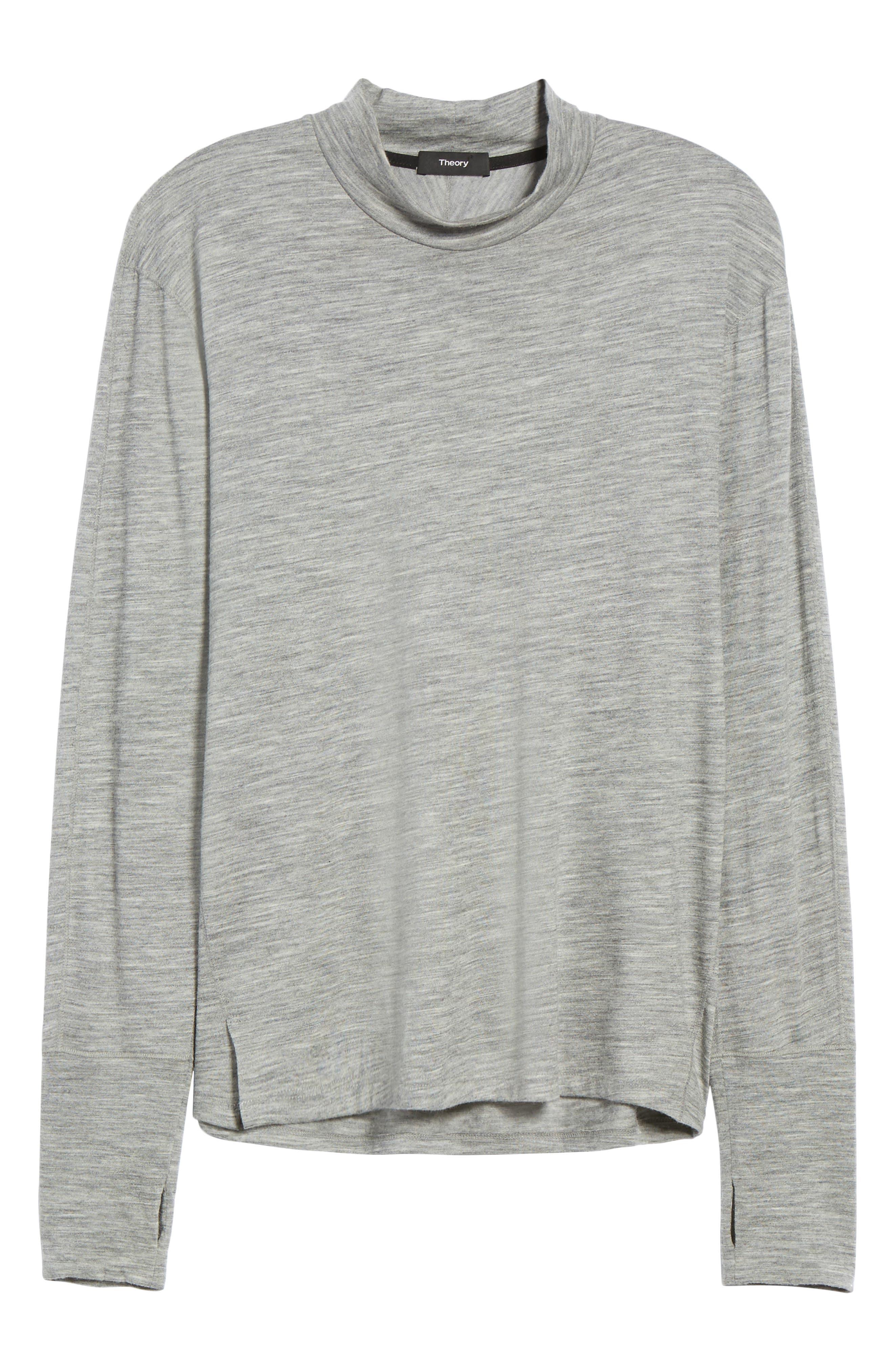 Mock Neck Thumbhole Wool T-Shirt,                             Alternate thumbnail 12, color,