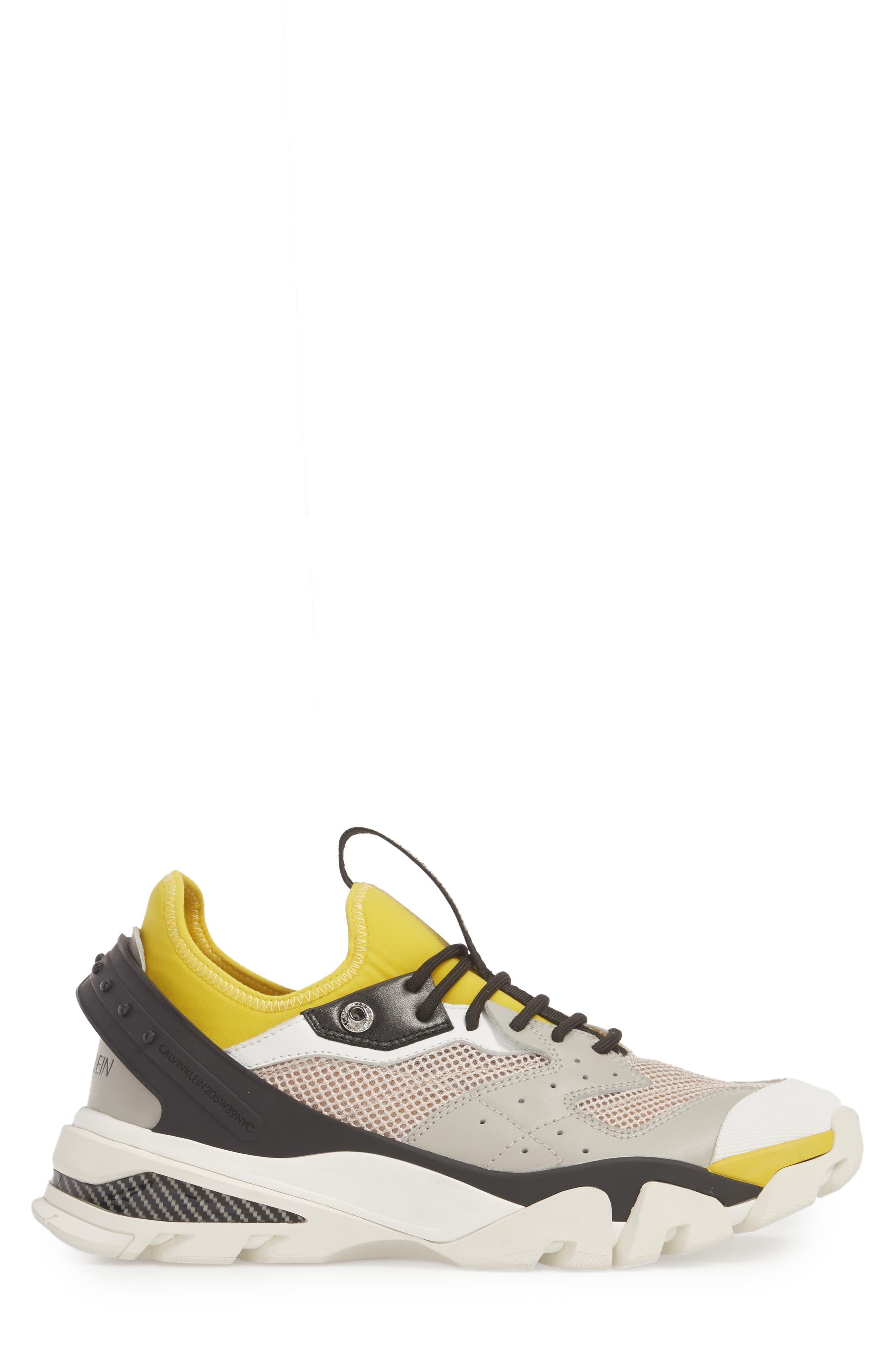 Carlos 10 Snapback Runner Sneaker,                             Alternate thumbnail 3, color,                             GREY/ YELLOW/ BLACK/ WHITE