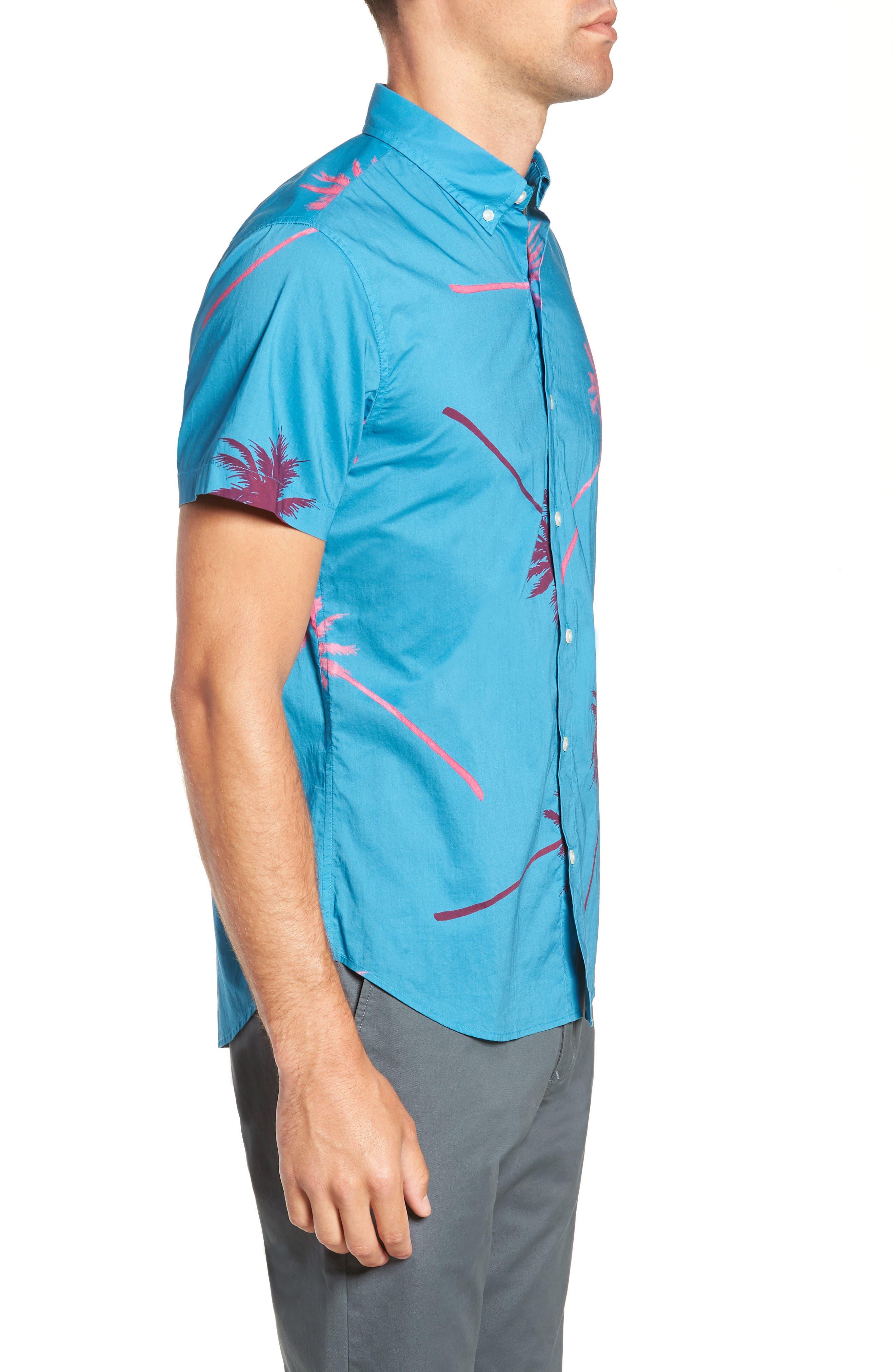 Slim Fit Palm Tree Sport Shirt,                             Alternate thumbnail 3, color,                             400