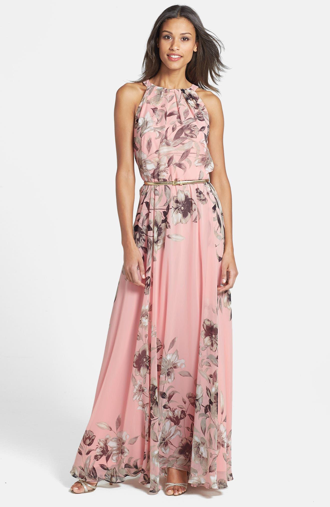 Belted Chiffon Maxi Dress,                             Alternate thumbnail 10, color,                             PINK MULTI