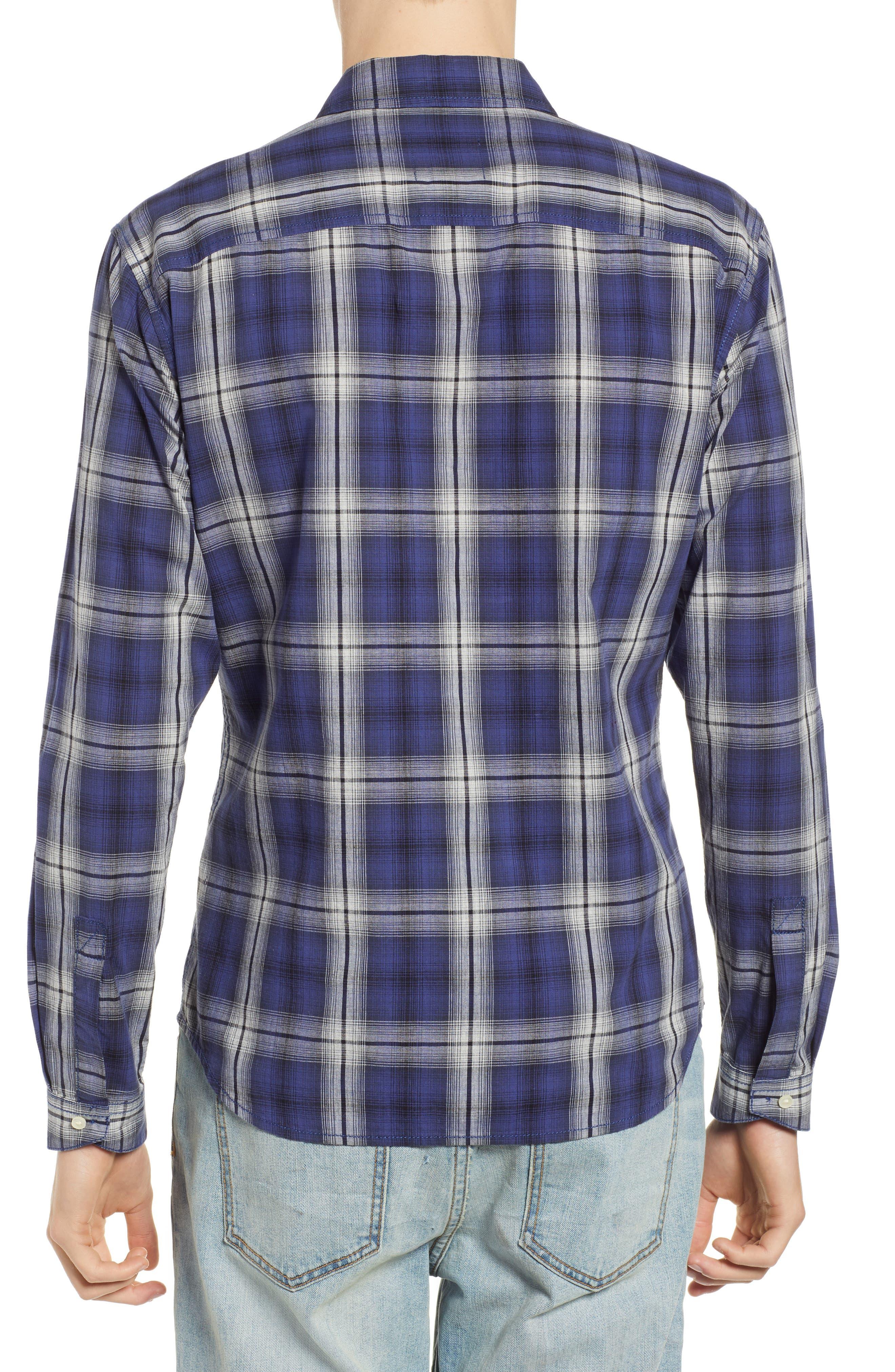 Fairmont Regular Fit Windowpane Sport Shirt,                             Alternate thumbnail 3, color,                             BLUE JAY