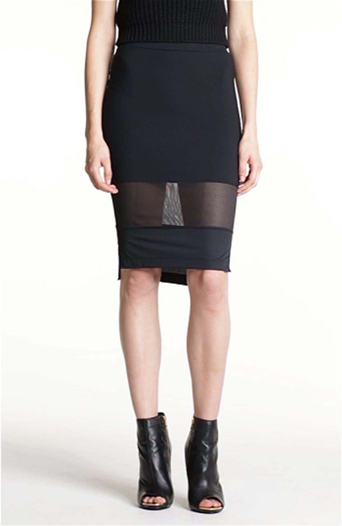 Mesh Mix Pencil Skirt,                             Alternate thumbnail 4, color,
