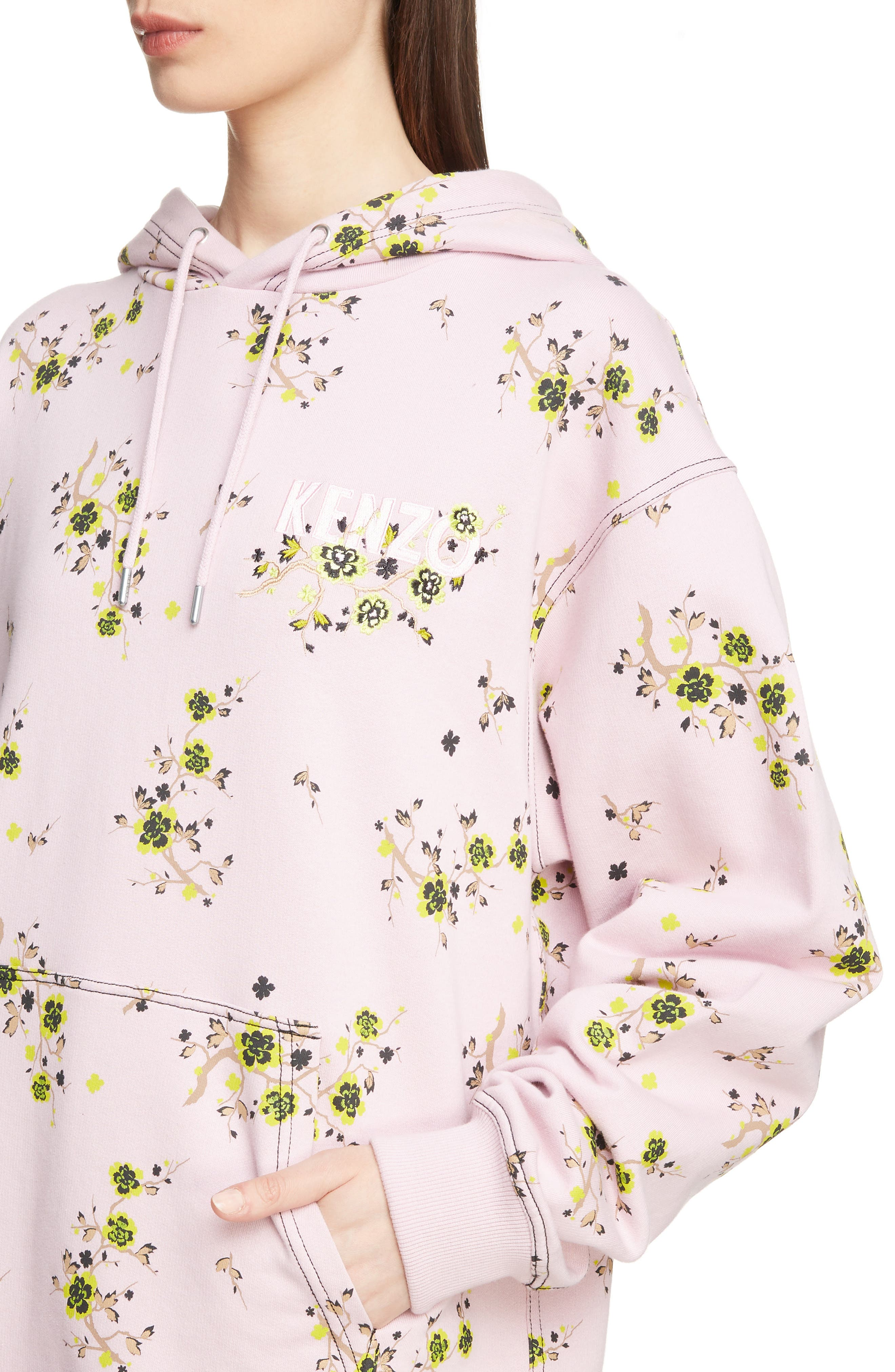Oversize Floral Hoodie,                             Alternate thumbnail 4, color,                             683