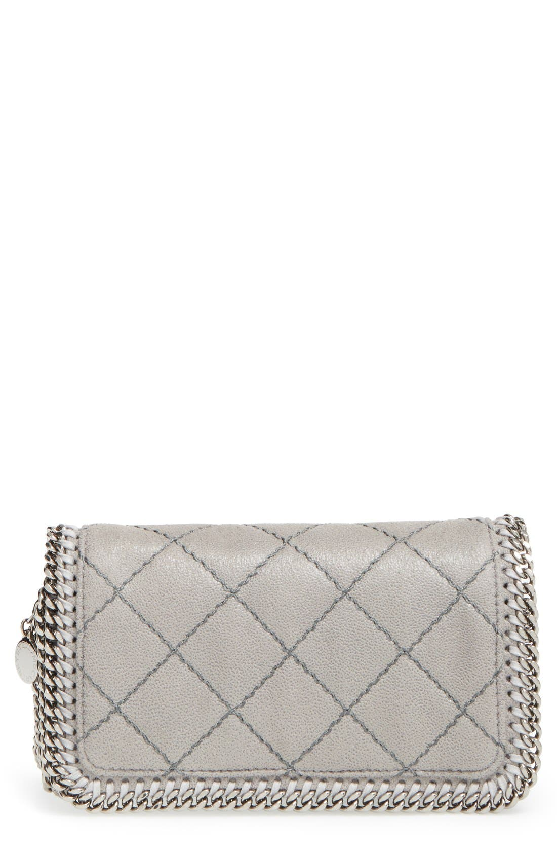 'Falabella' Quilted Faux Leather Crossbody Bag,                             Main thumbnail 1, color,                             021