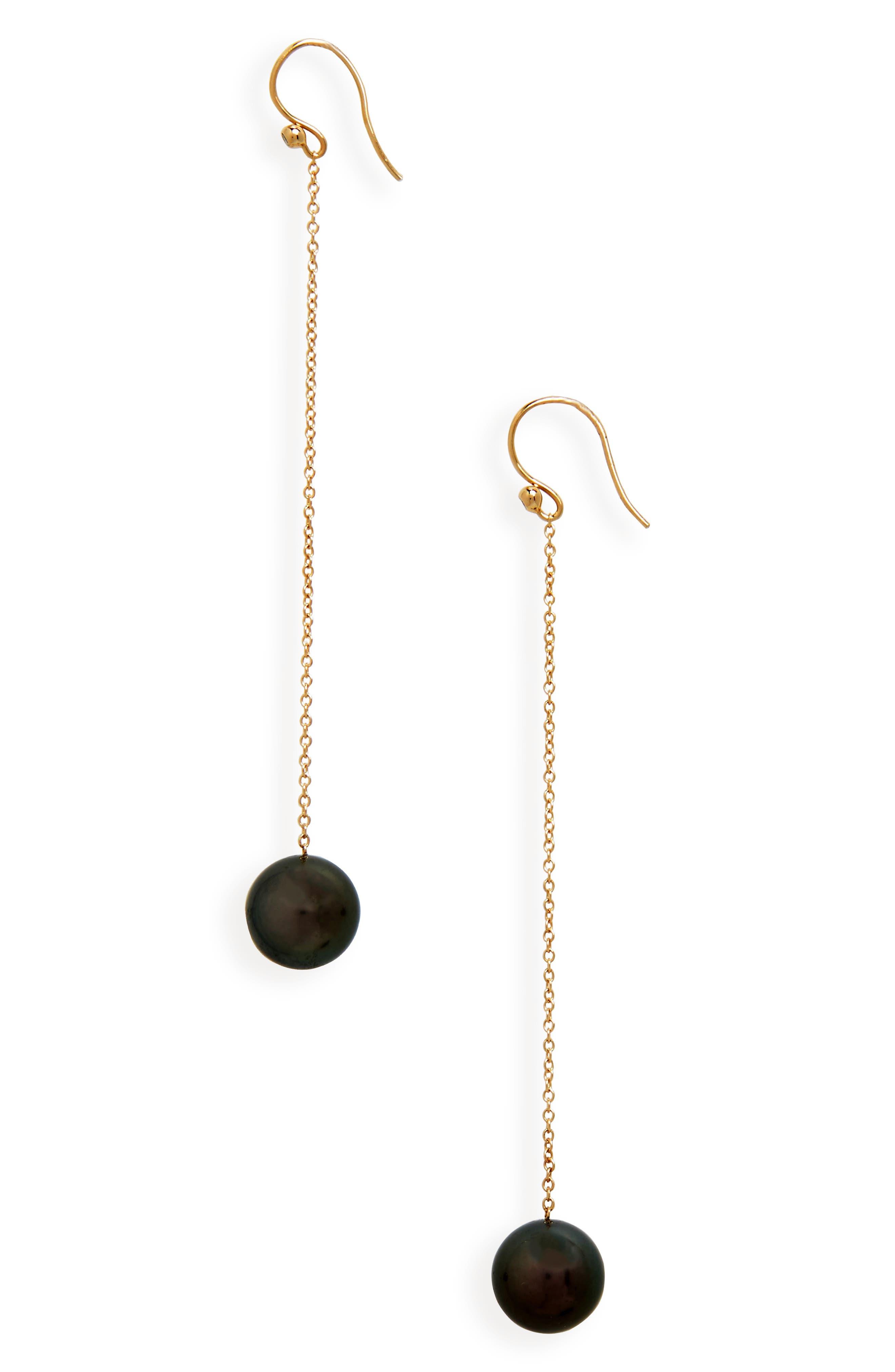 Tahitian Pearl Chain Drop Earrings,                             Main thumbnail 1, color,                             YELLOW GOLD/ BLACK PEARL