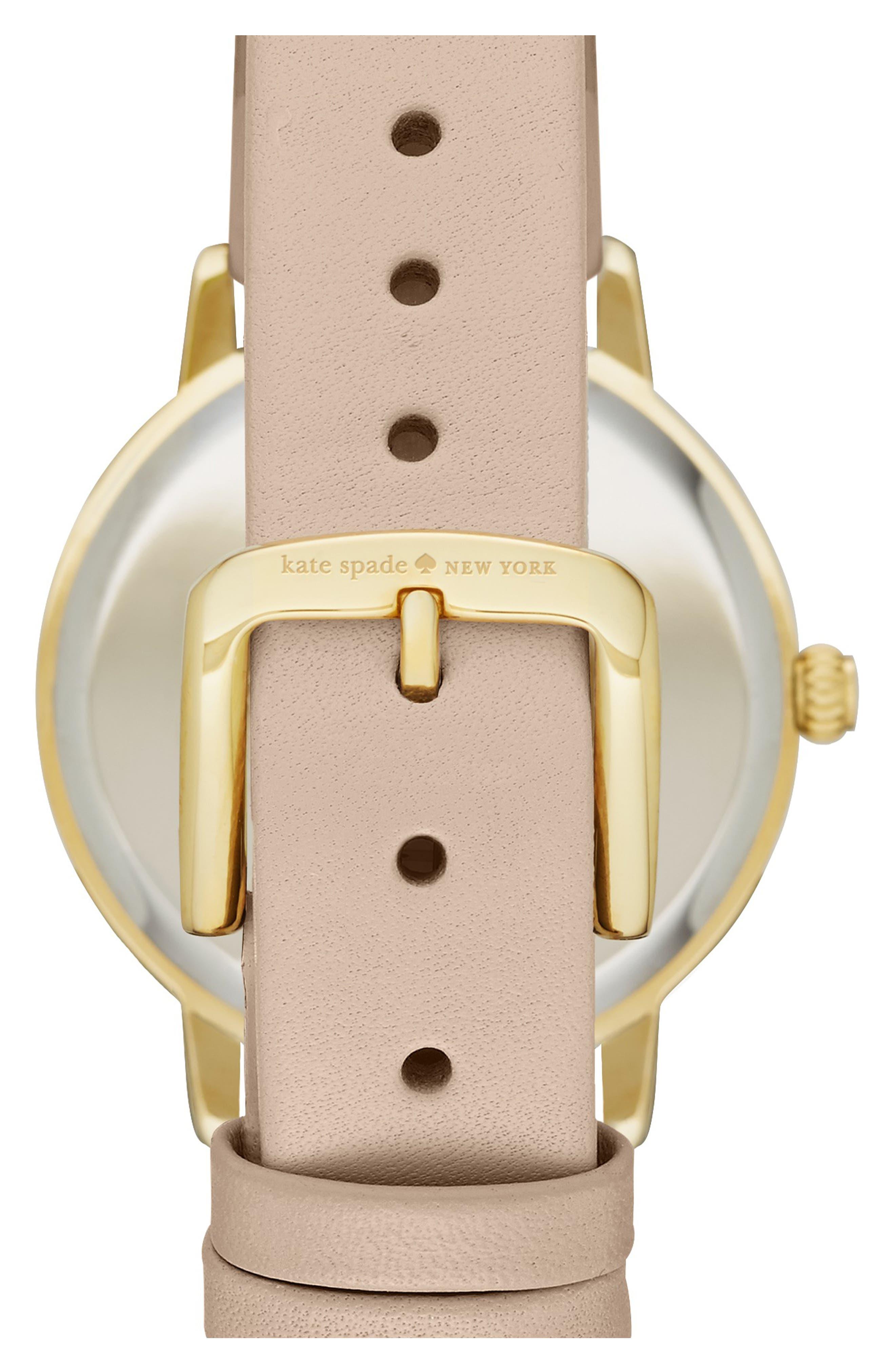 'metro' leather strap watch, 34mm,                             Alternate thumbnail 2, color,                             VACHETTA/ SILVER