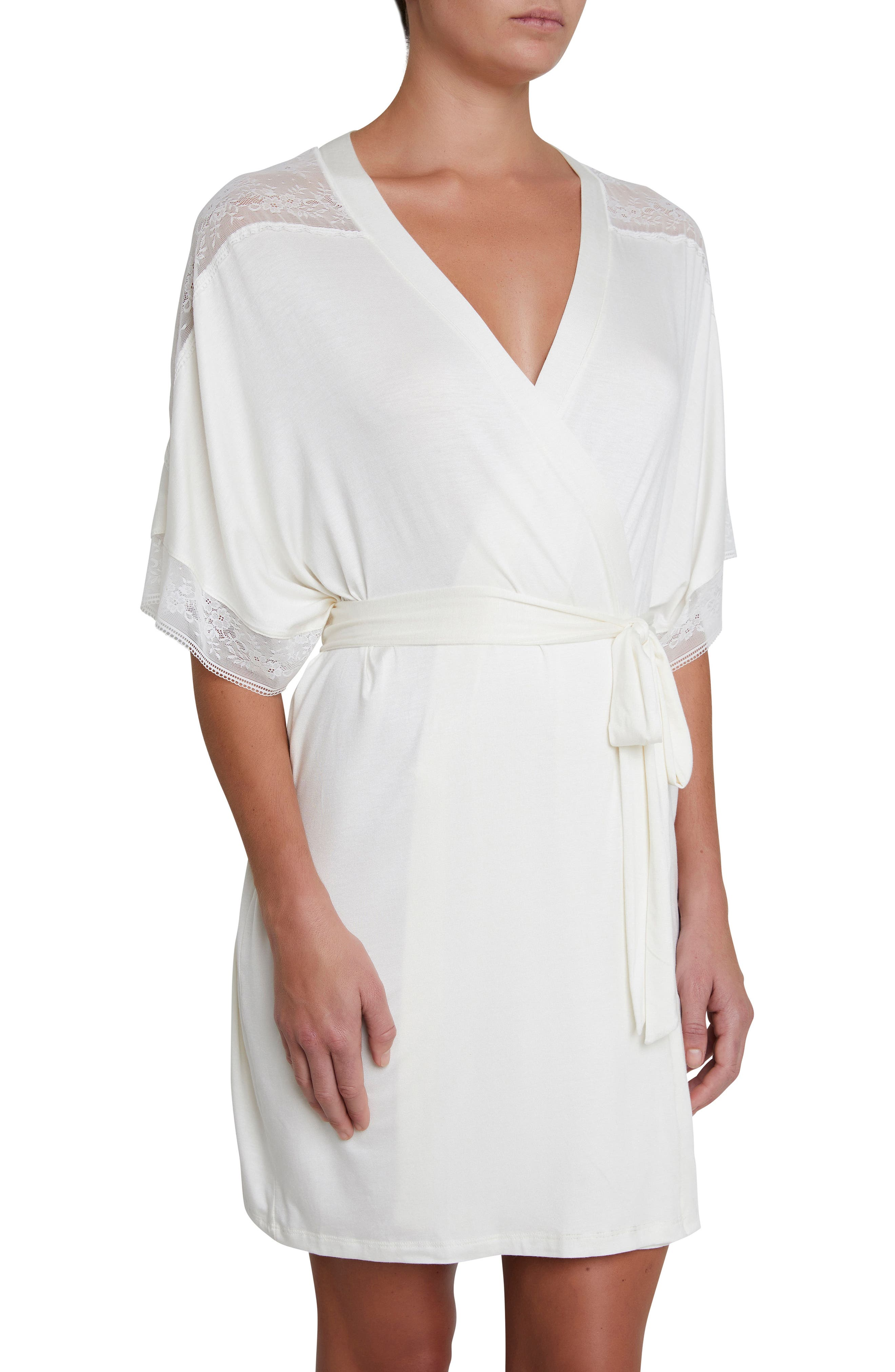 Adora the Date Short Robe,                         Main,                         color, IVORY