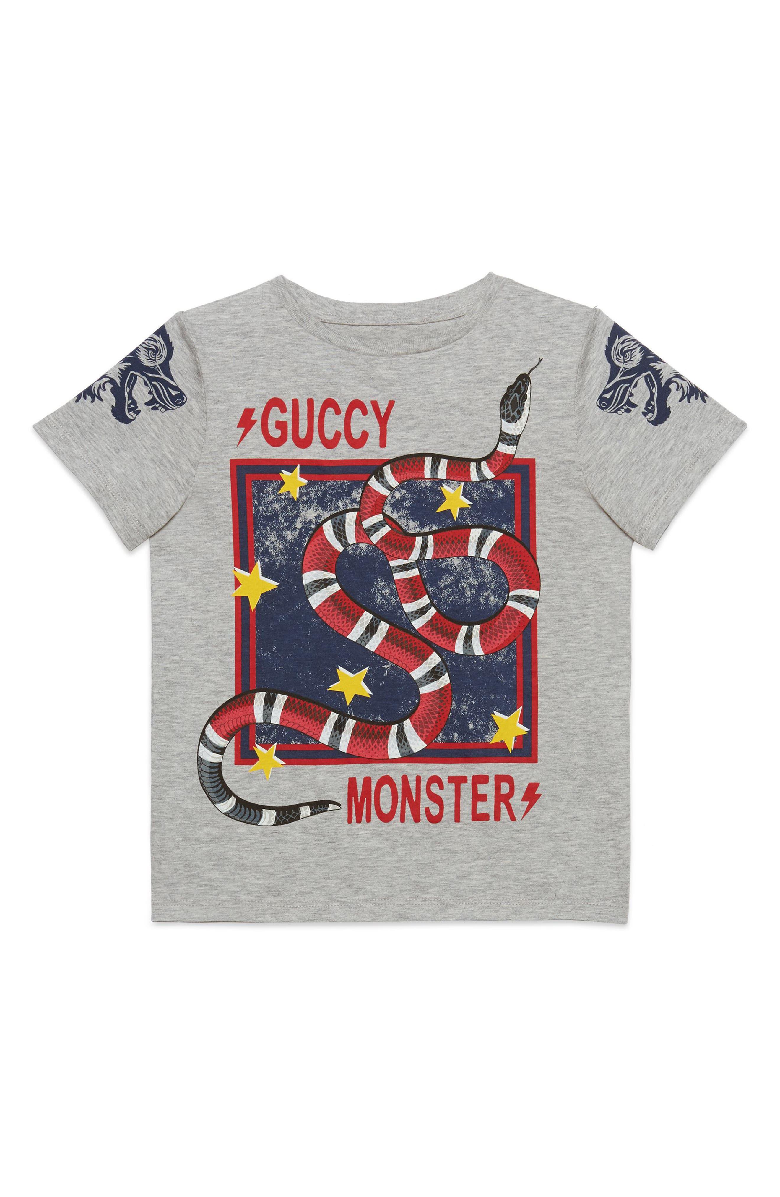 Guccy Monster & King Snake Graphic T-Shirt,                         Main,                         color, L.GREY MEL B/ R/ B