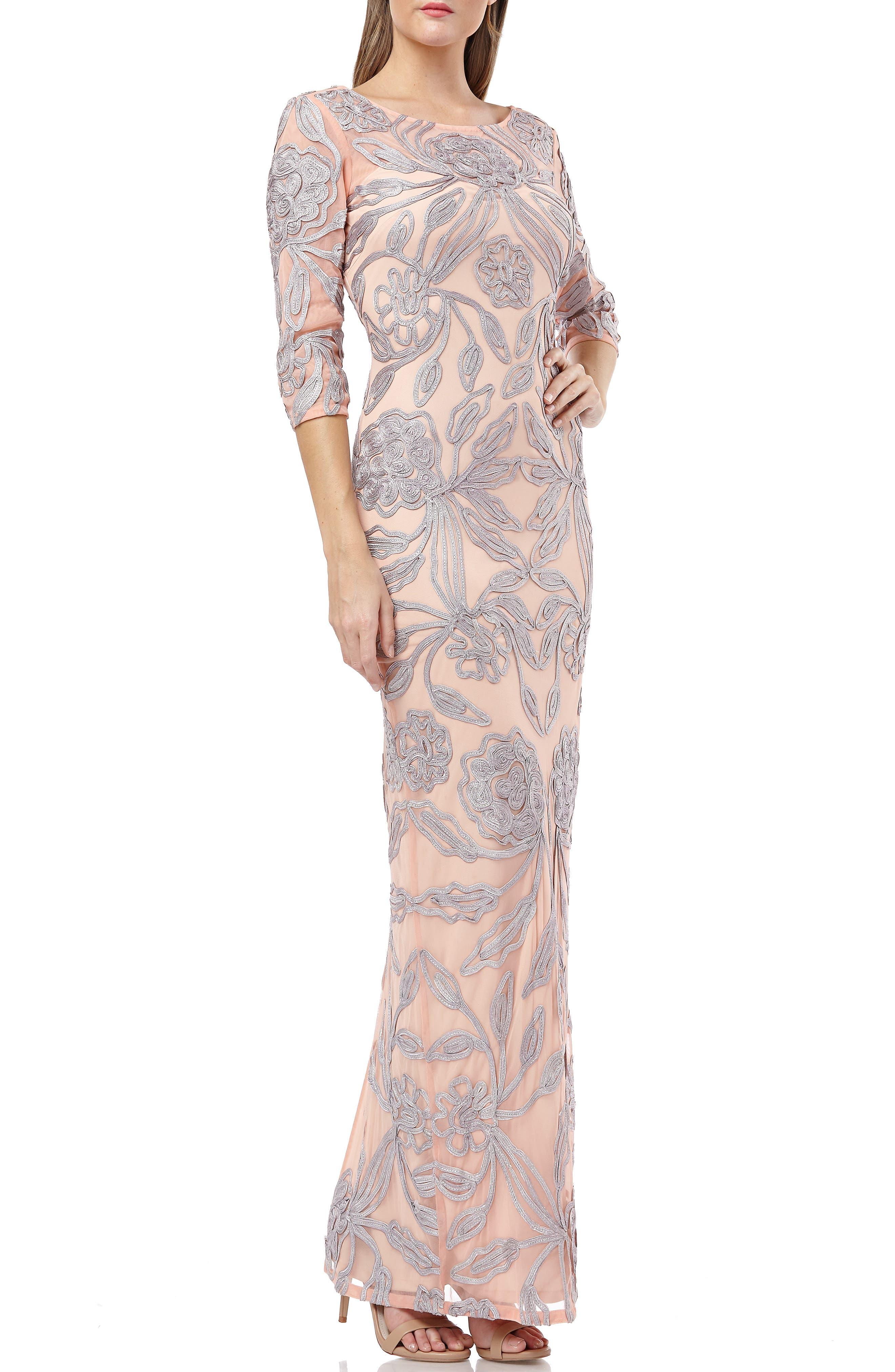 Js Collections Metallic Soutache Lace Evening Dress, Beige