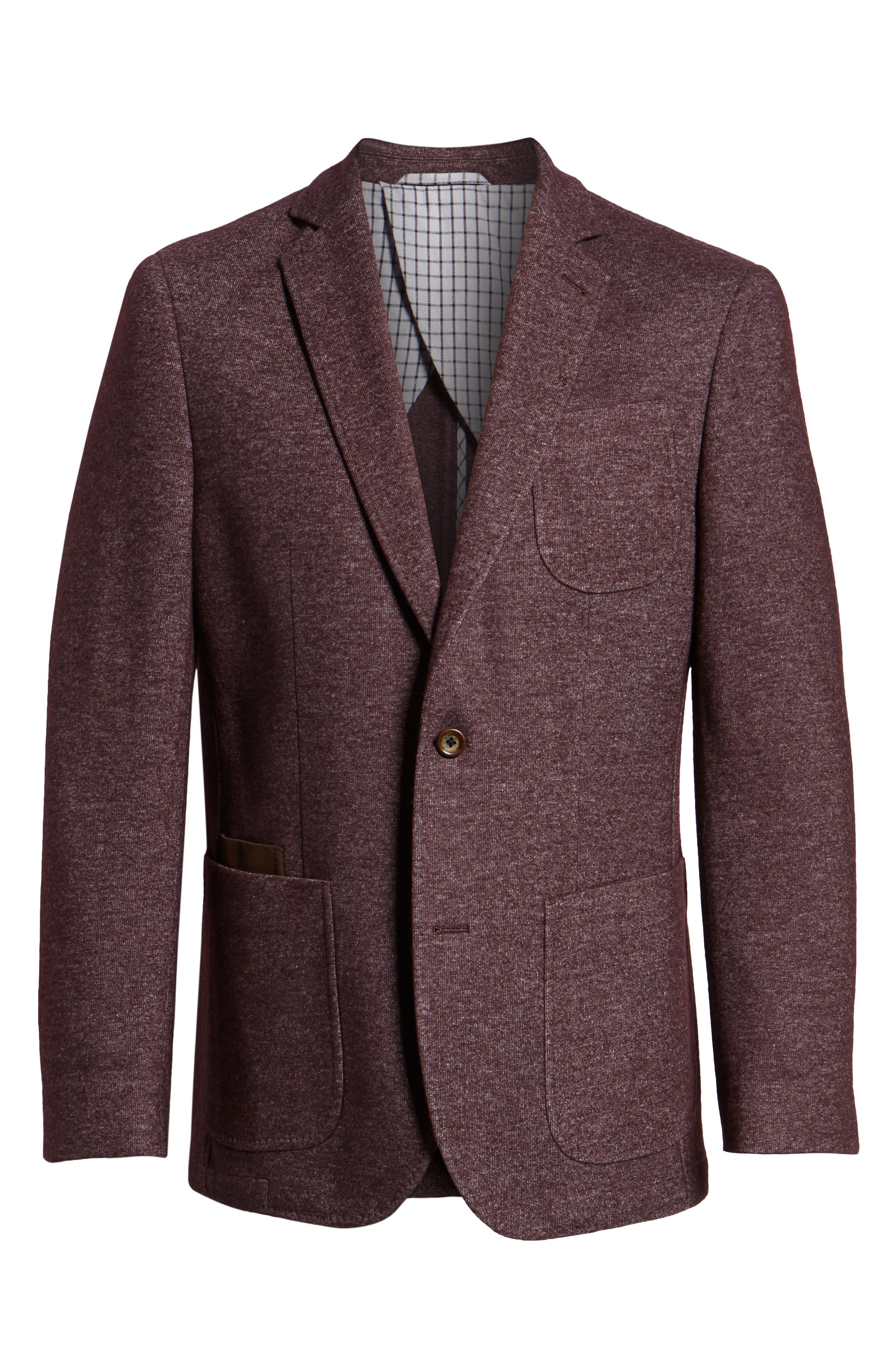 Regular Fit Knit Wool Blend Sport Coat,                             Alternate thumbnail 5, color,                             PORT
