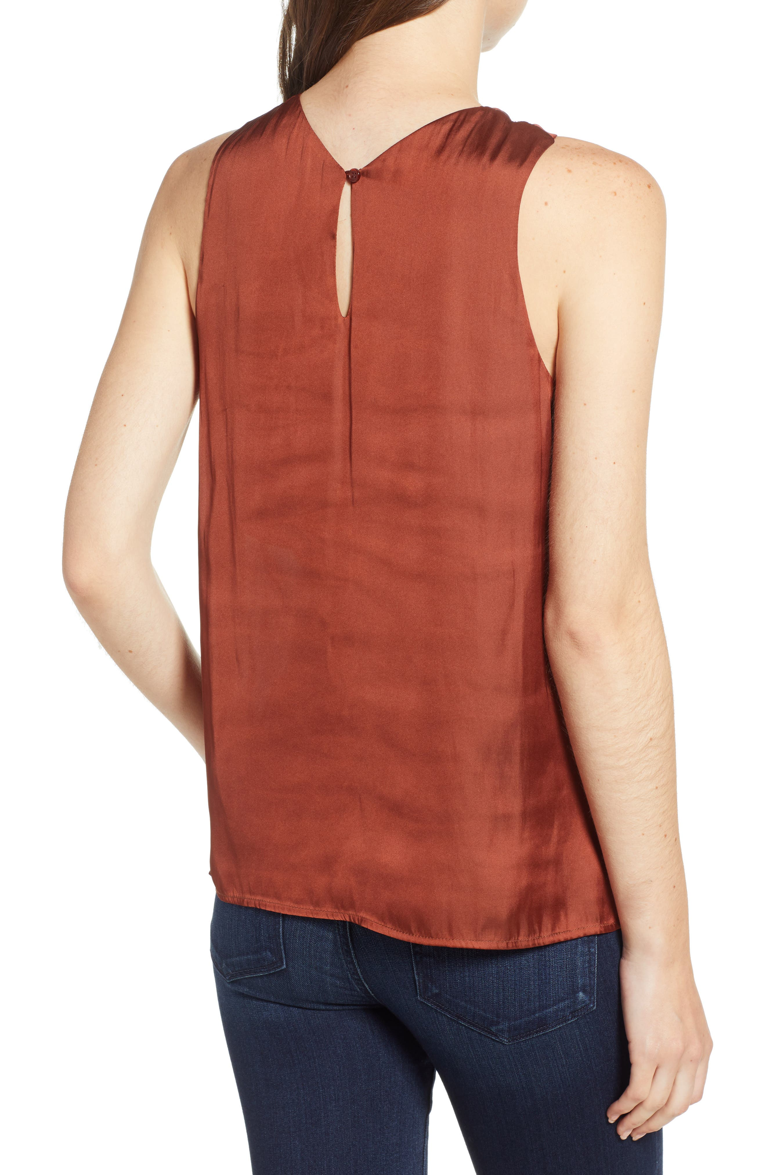 Twist Front Top,                             Alternate thumbnail 2, color,                             RED OCHRE