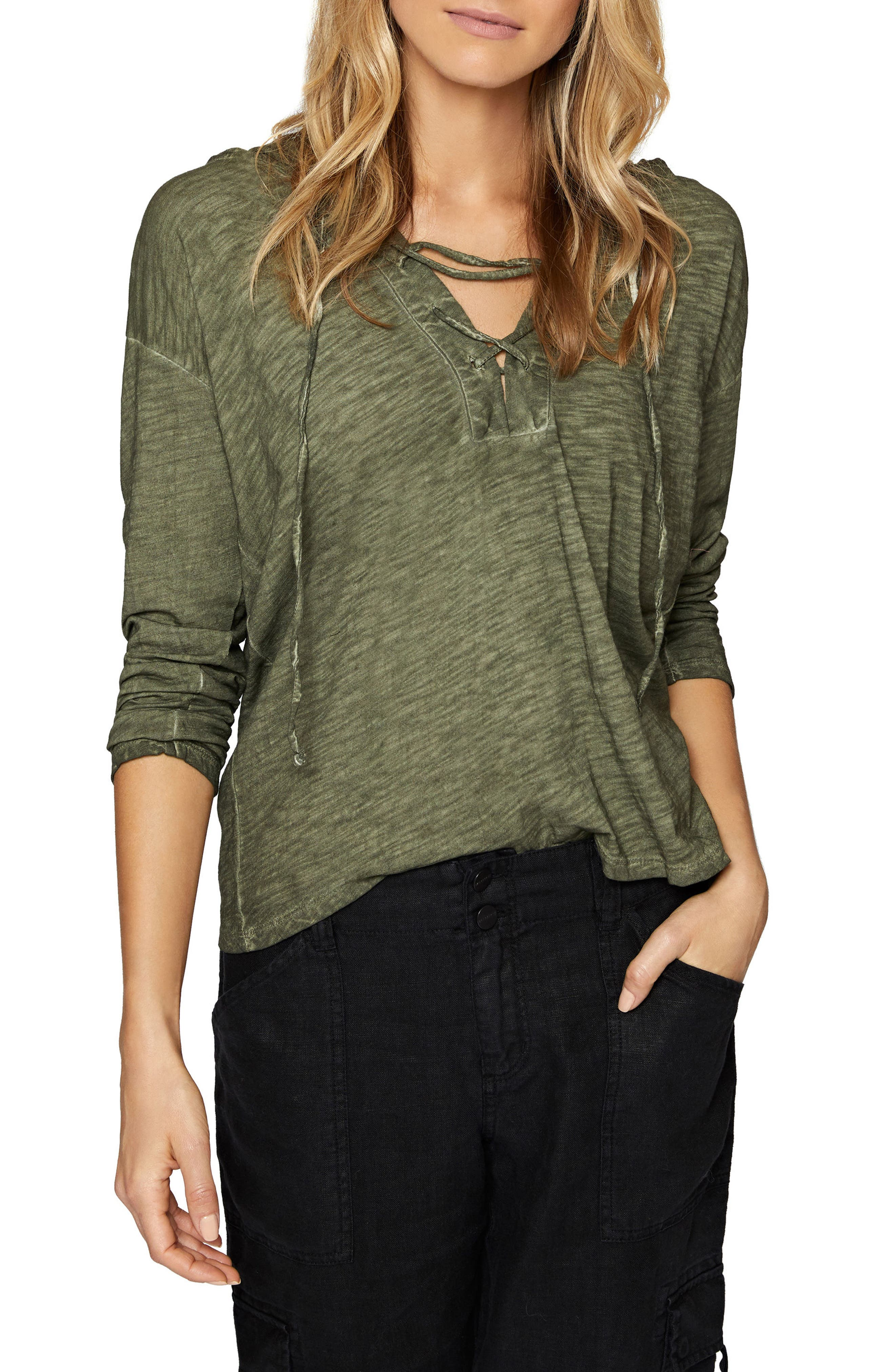 Atwater Lace-Up Hoodie,                             Main thumbnail 2, color,