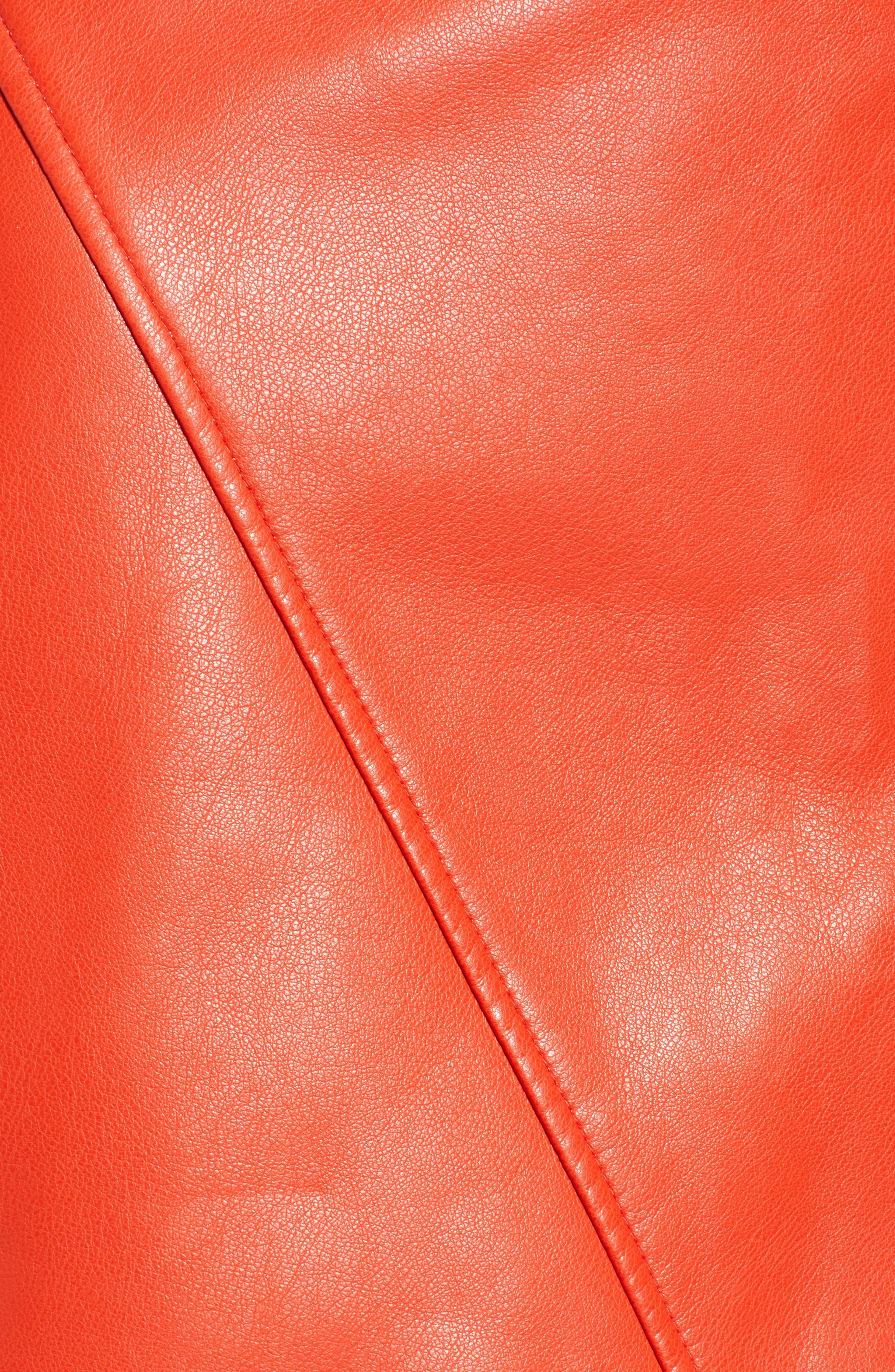 BLANKNYC,                             Asymmetrical Latch Detail Vegan Leather Miniskirt,                             Alternate thumbnail 5, color,                             SAFE WORD