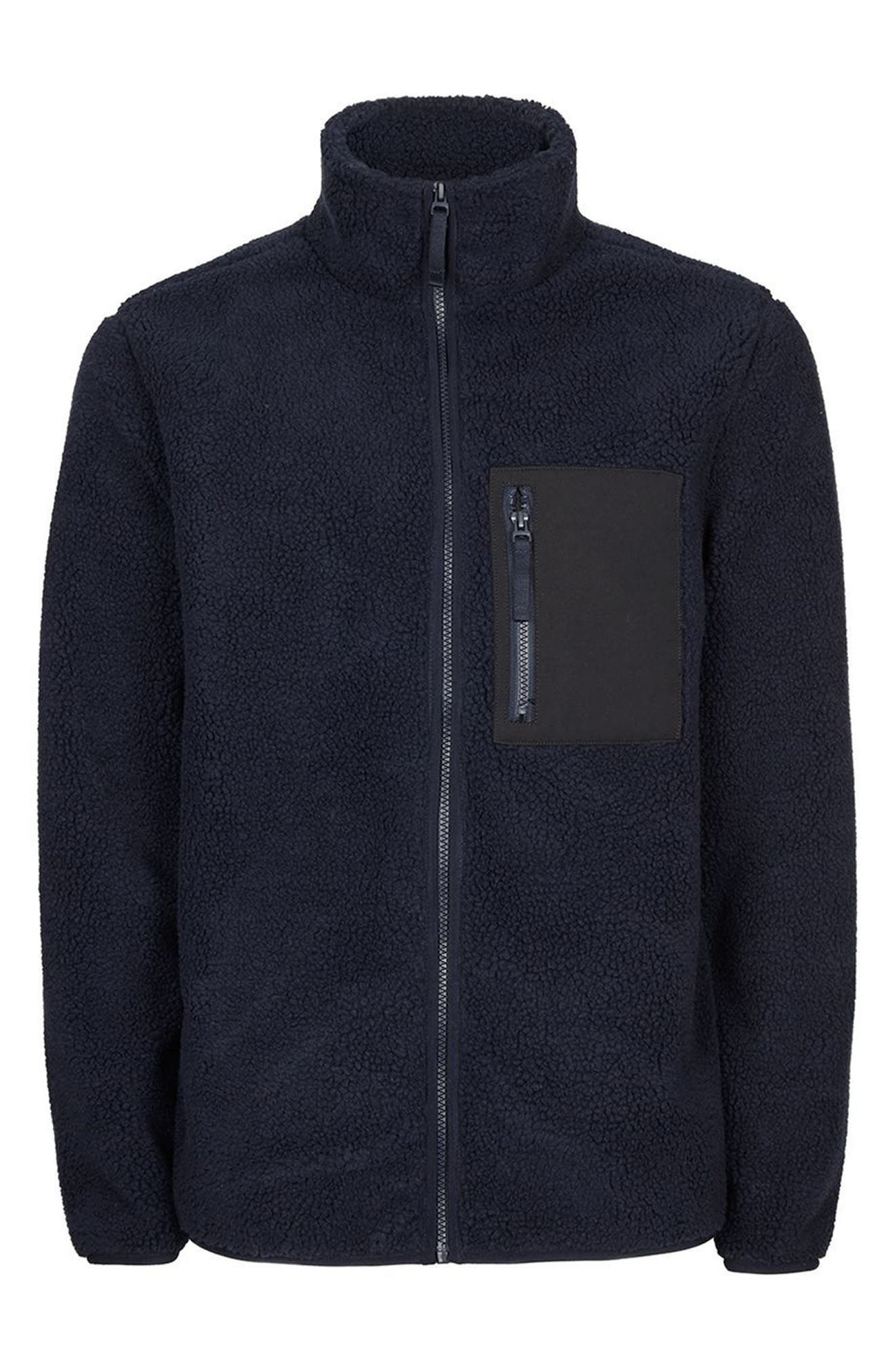 Textured Borg Fleece Jacket,                             Alternate thumbnail 3, color,                             401