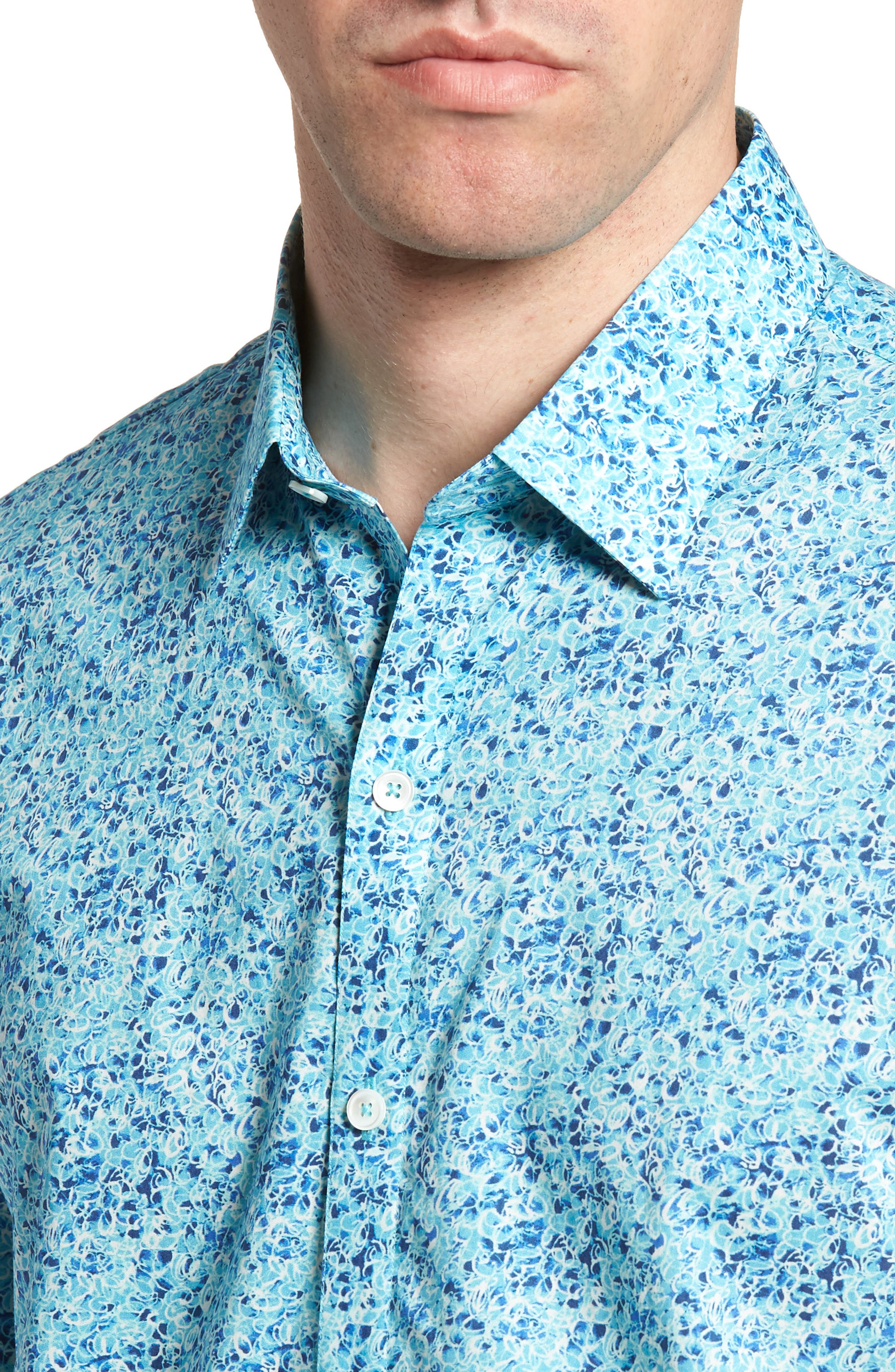 Kincaid Scribble Print Sport Shirt,                             Alternate thumbnail 4, color,                             AQUA