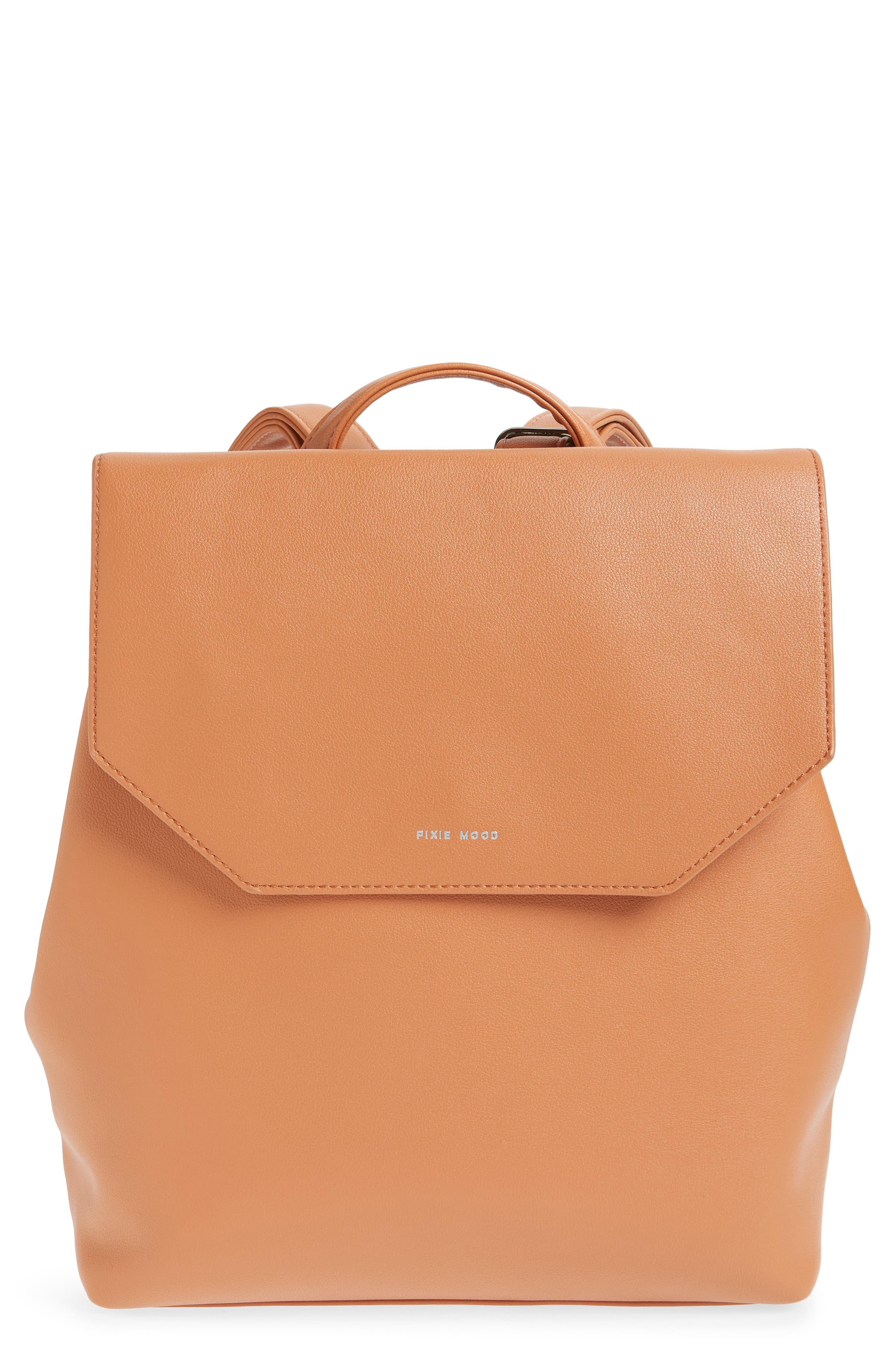 Valeria Faux Leather Backpack,                             Main thumbnail 1, color,                             CARAMEL