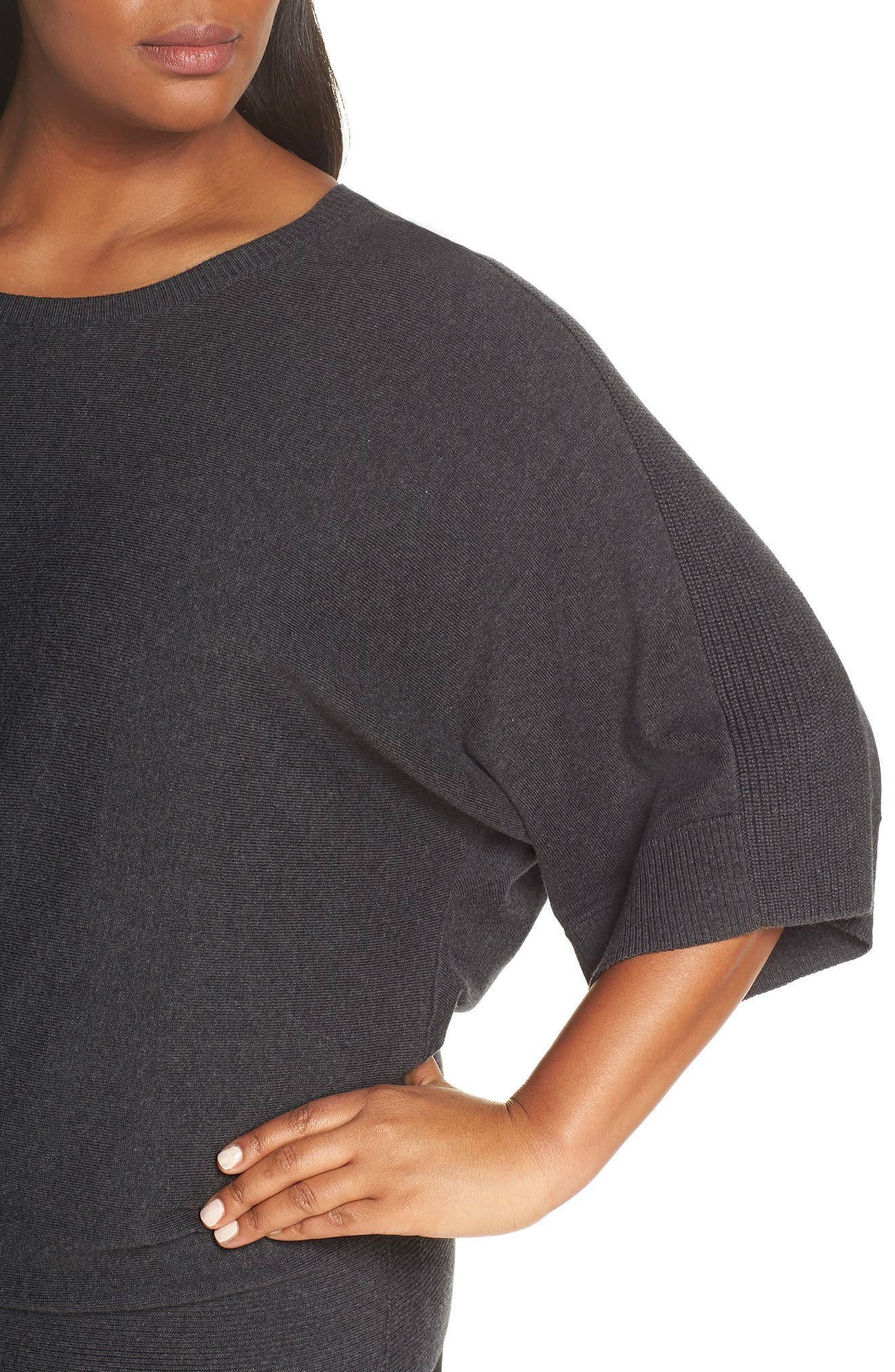 Cotton Blend Kimono Sweater,                             Alternate thumbnail 4, color,                             GREY DARK CHARCOAL HEATHER