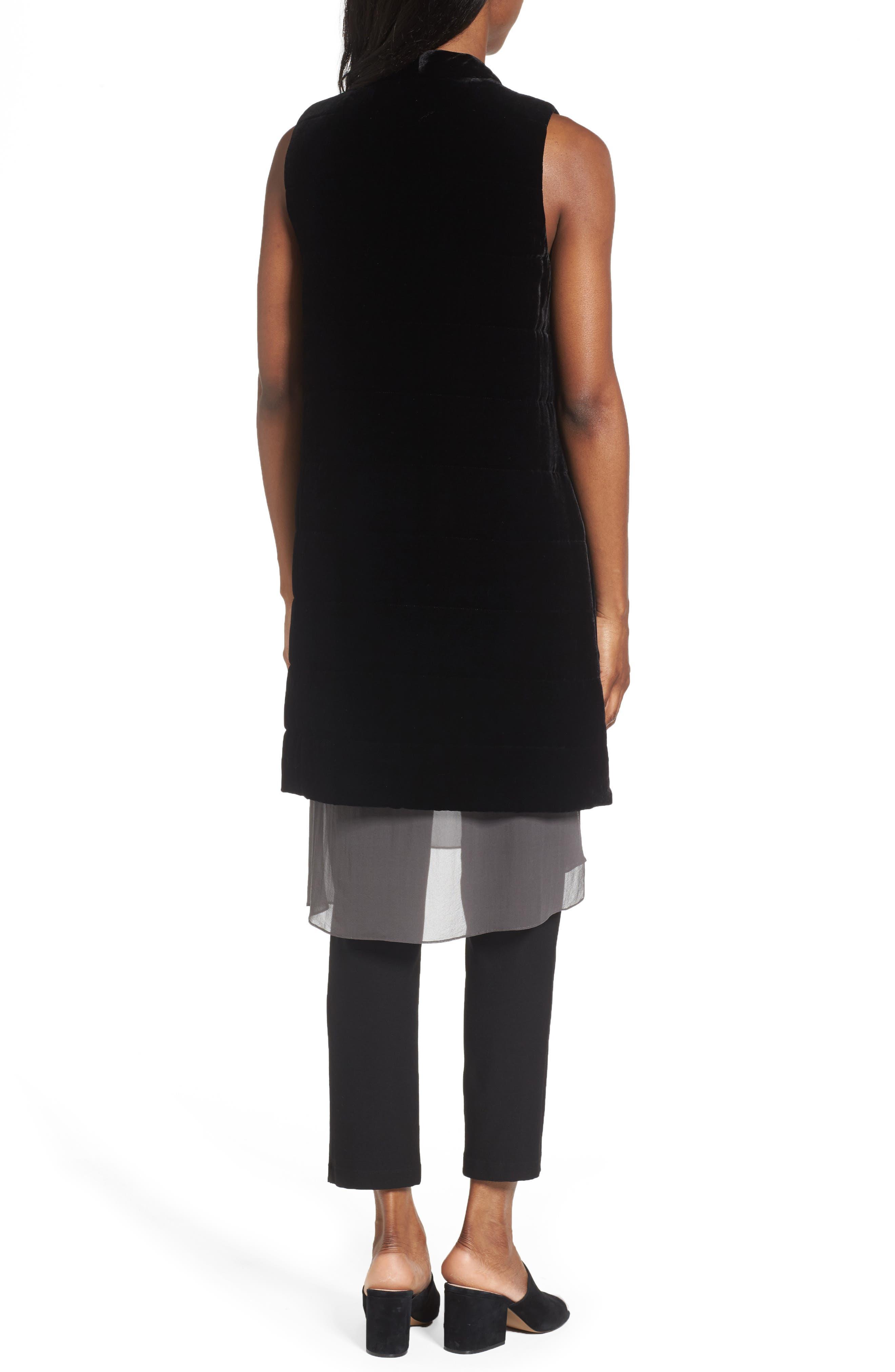Long Quilted Velvet Vest,                             Alternate thumbnail 2, color,                             001