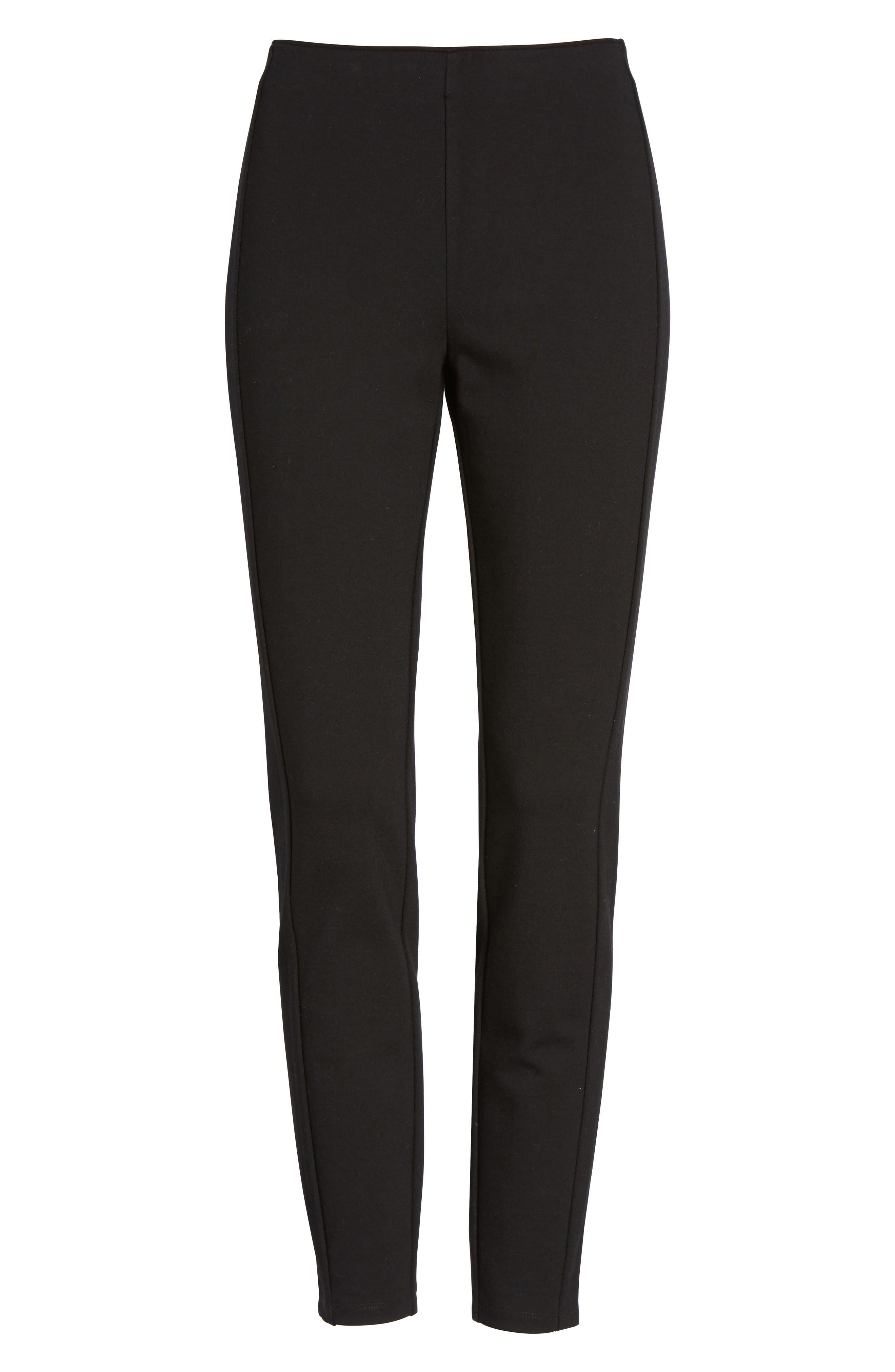 Skinny Ponte Knit Pants,                             Alternate thumbnail 6, color,                             001