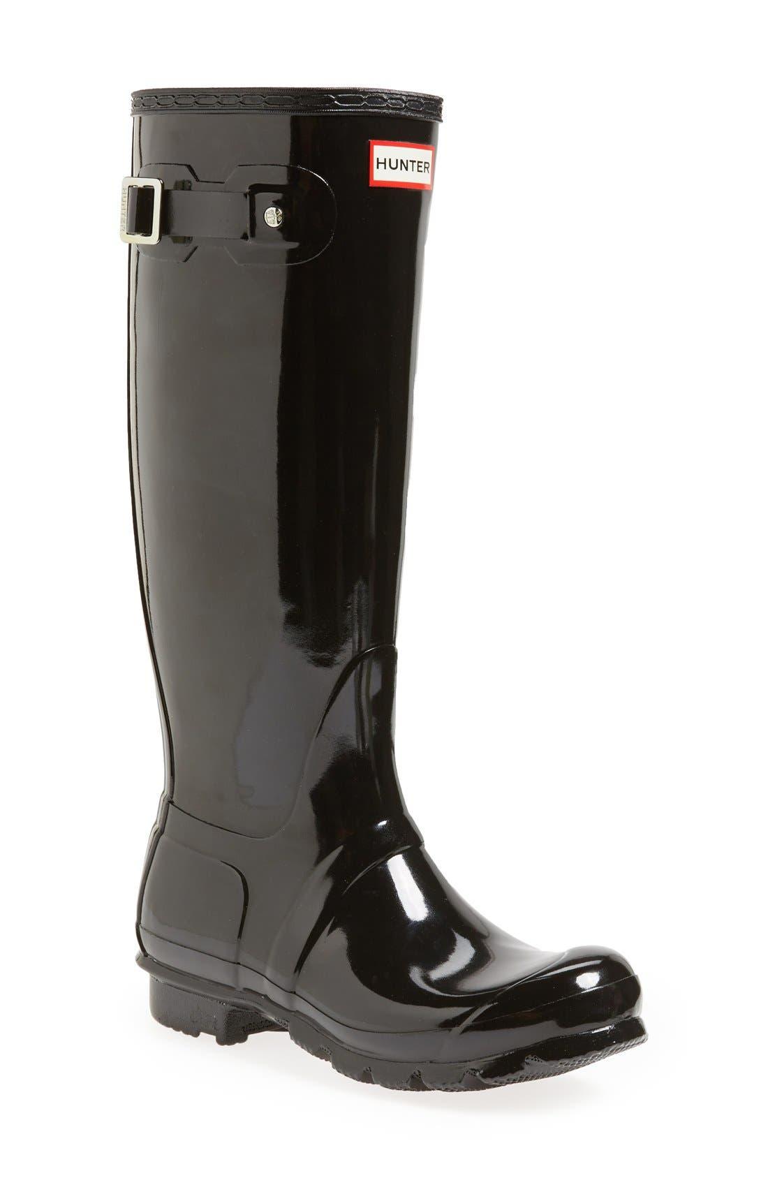 Hunter Original High Gloss Waterproof Boot, Black
