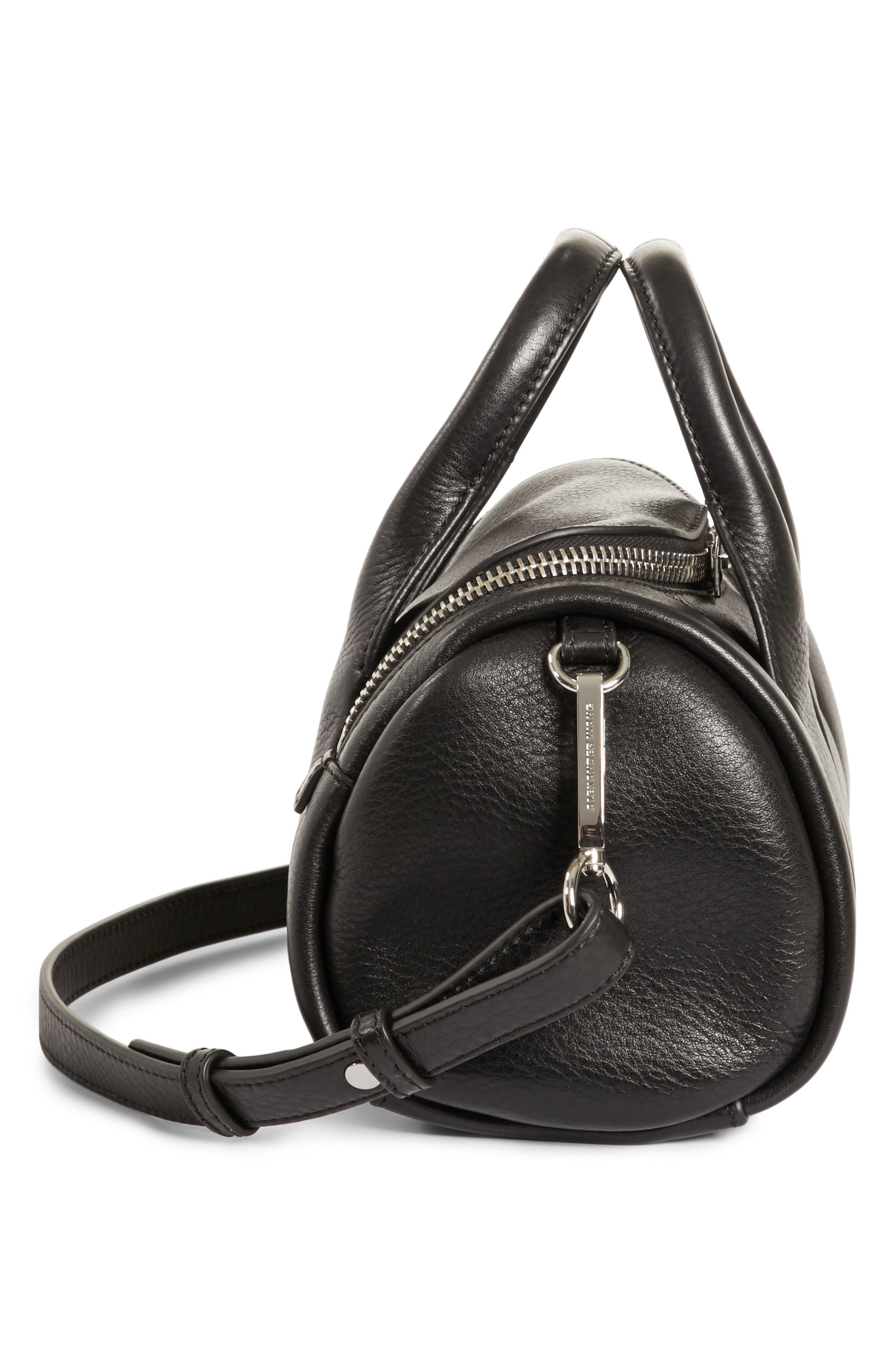 Mini Rockie - Nickel Leather Satchel,                             Alternate thumbnail 5, color,                             BLACK