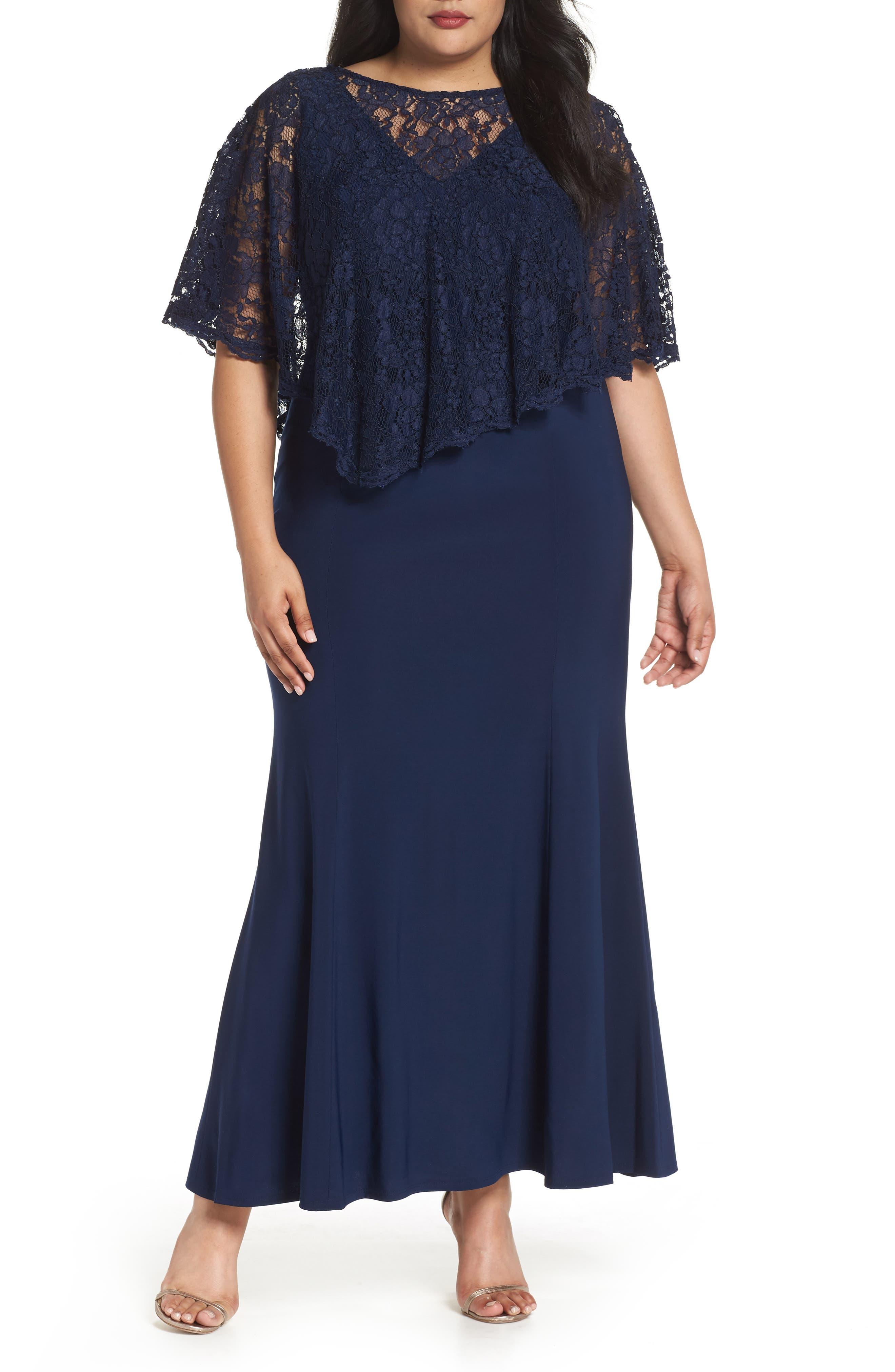 Lace Poncho Dress,                             Main thumbnail 1, color,                             NAVY