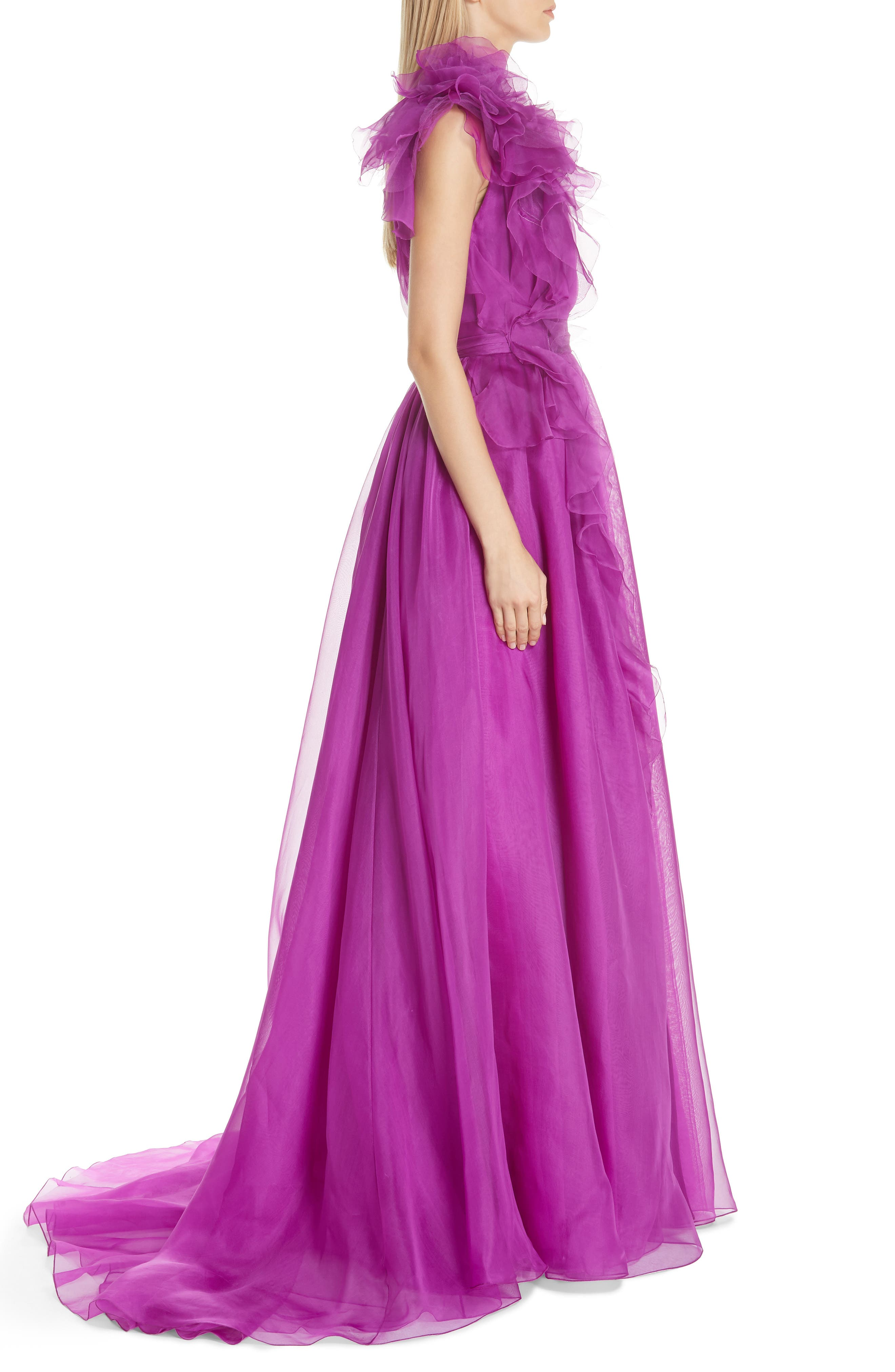 Ruffle Silk Organza Evening Dress,                             Alternate thumbnail 3, color,                             ORCHID