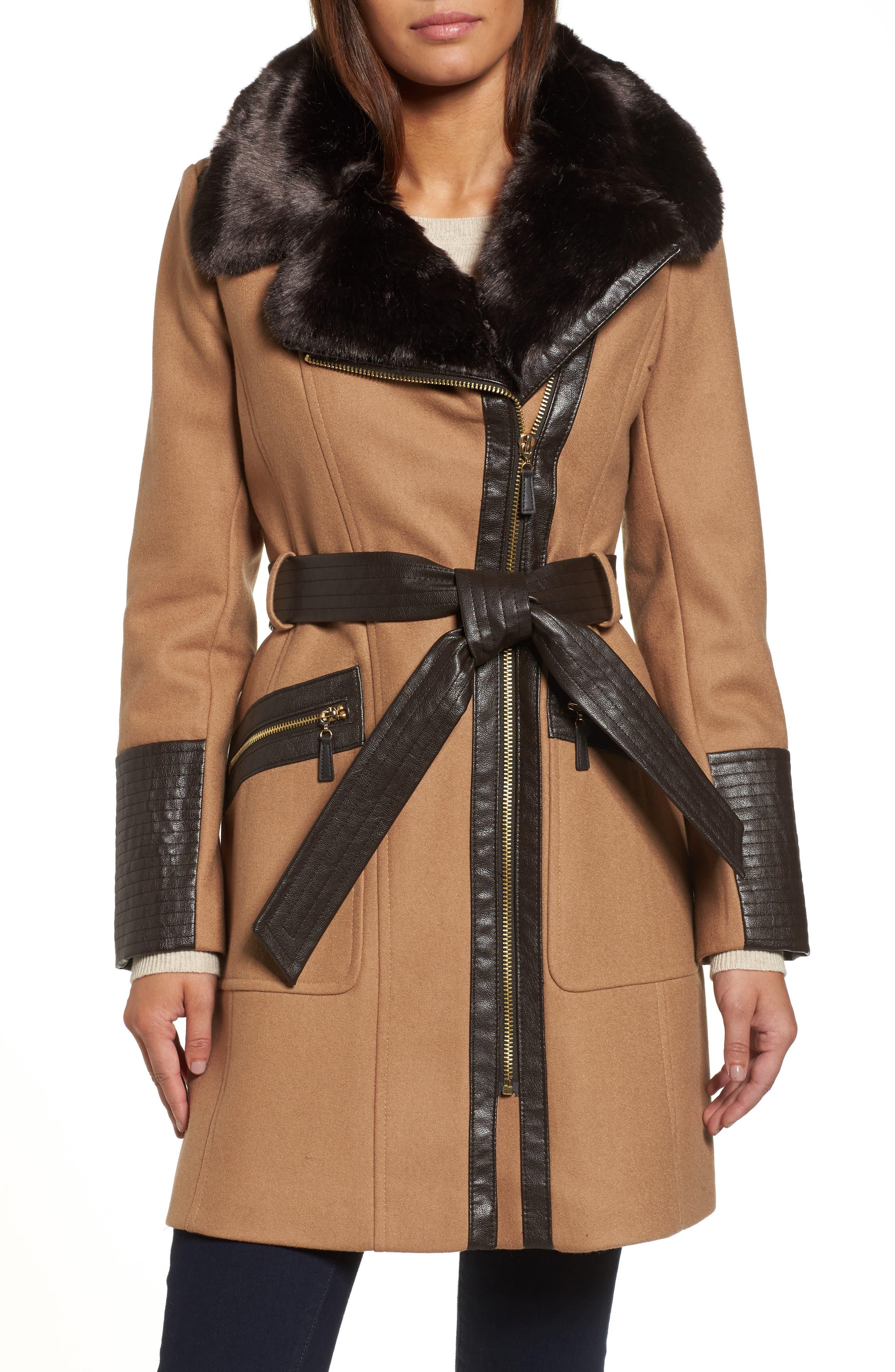 Faux Leather & Faux Fur Trim Belted Wool Blend Coat,                             Main thumbnail 2, color,