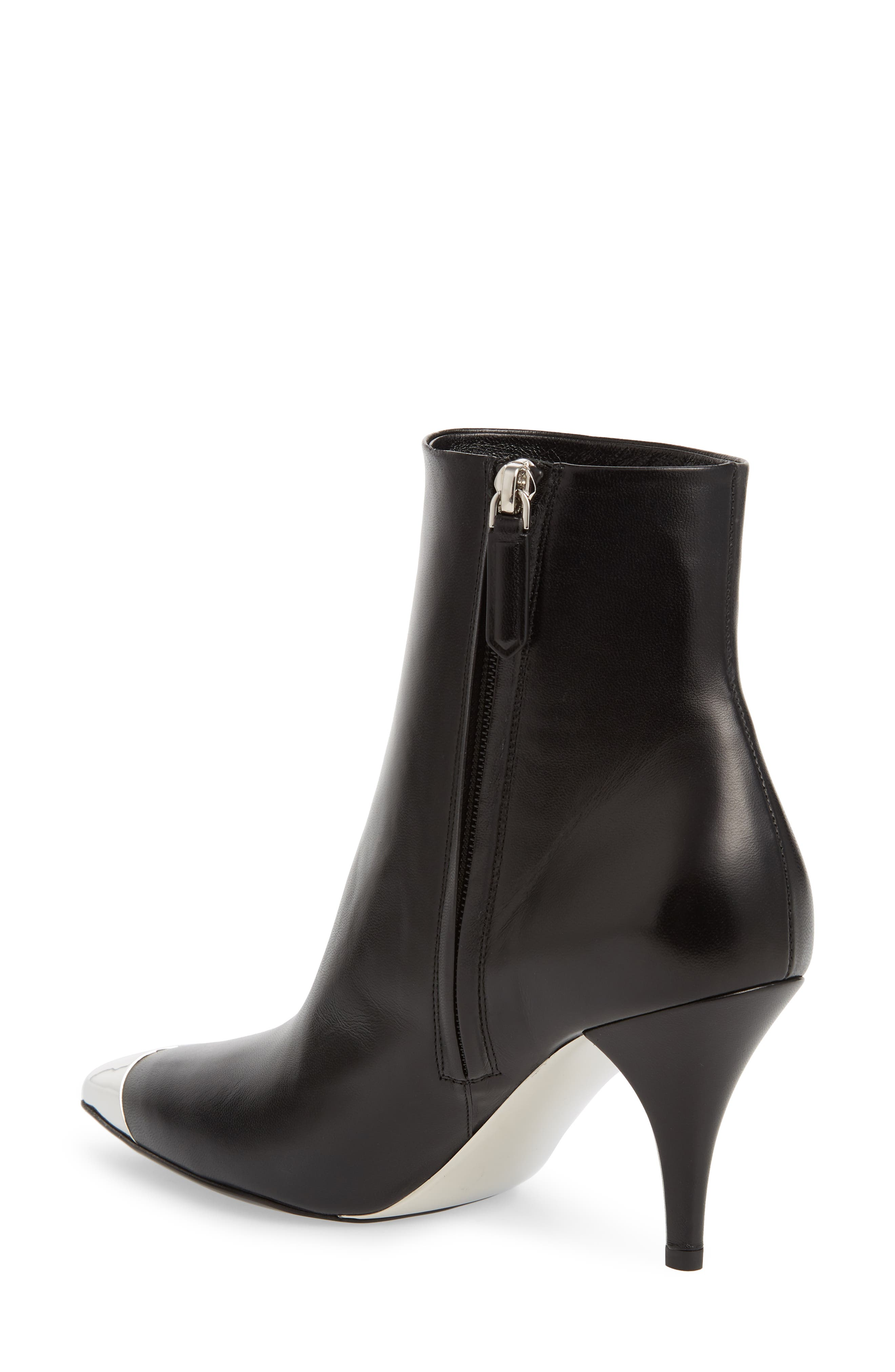 Rosella Cap Pointy Toe Bootie,                             Alternate thumbnail 2, color,                             BLACK
