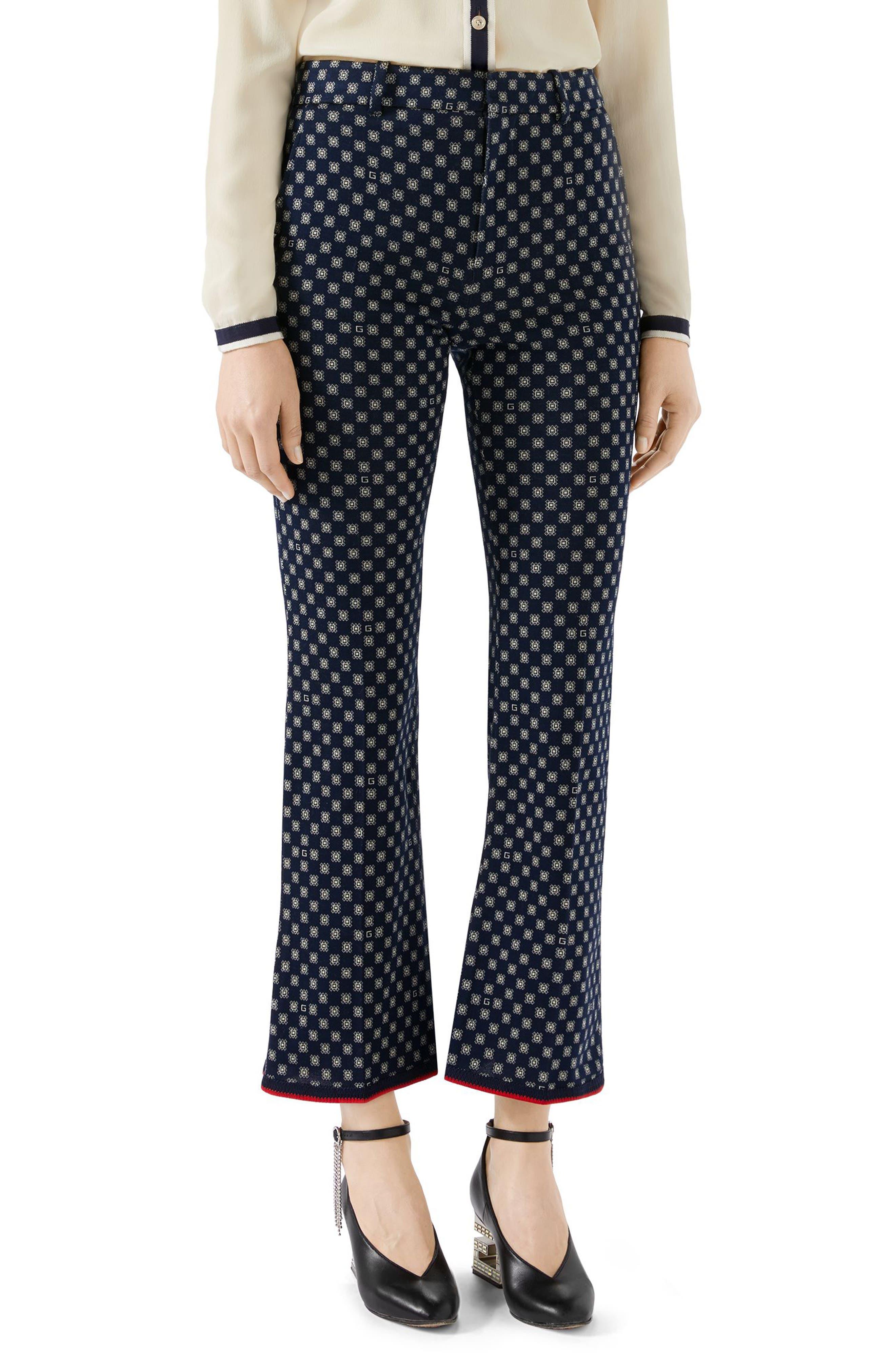 GUCCI G-Frames Jersey Bootcut Pants, Main, color, 4819 CASPIAN/ BEIGE/ MC