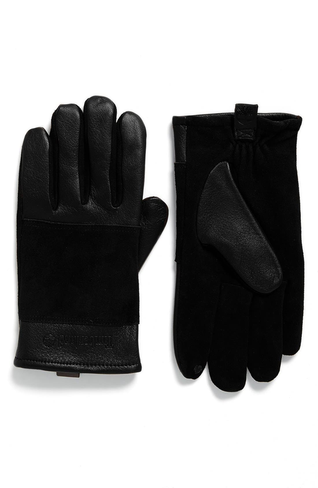 Suede Gloves,                             Main thumbnail 1, color,                             001