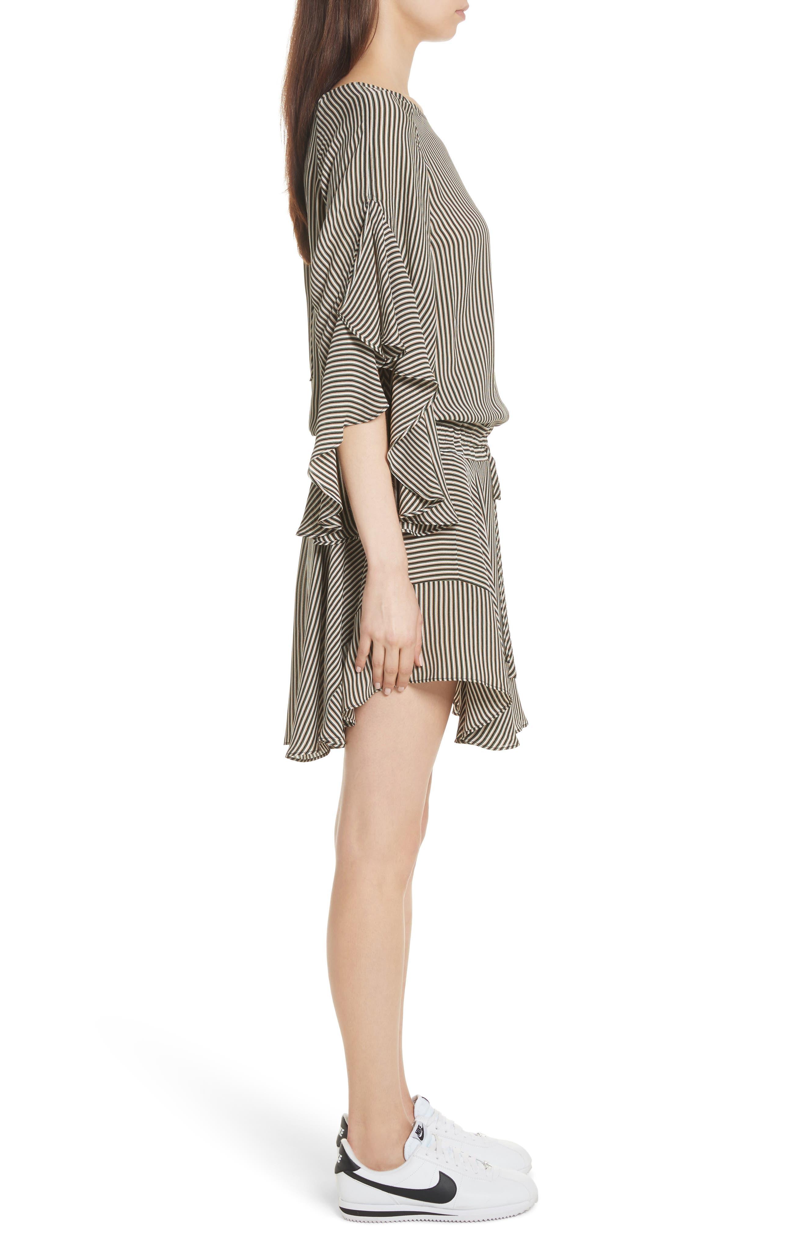 Cannon Stripe Silk Dress,                             Alternate thumbnail 3, color,                             101