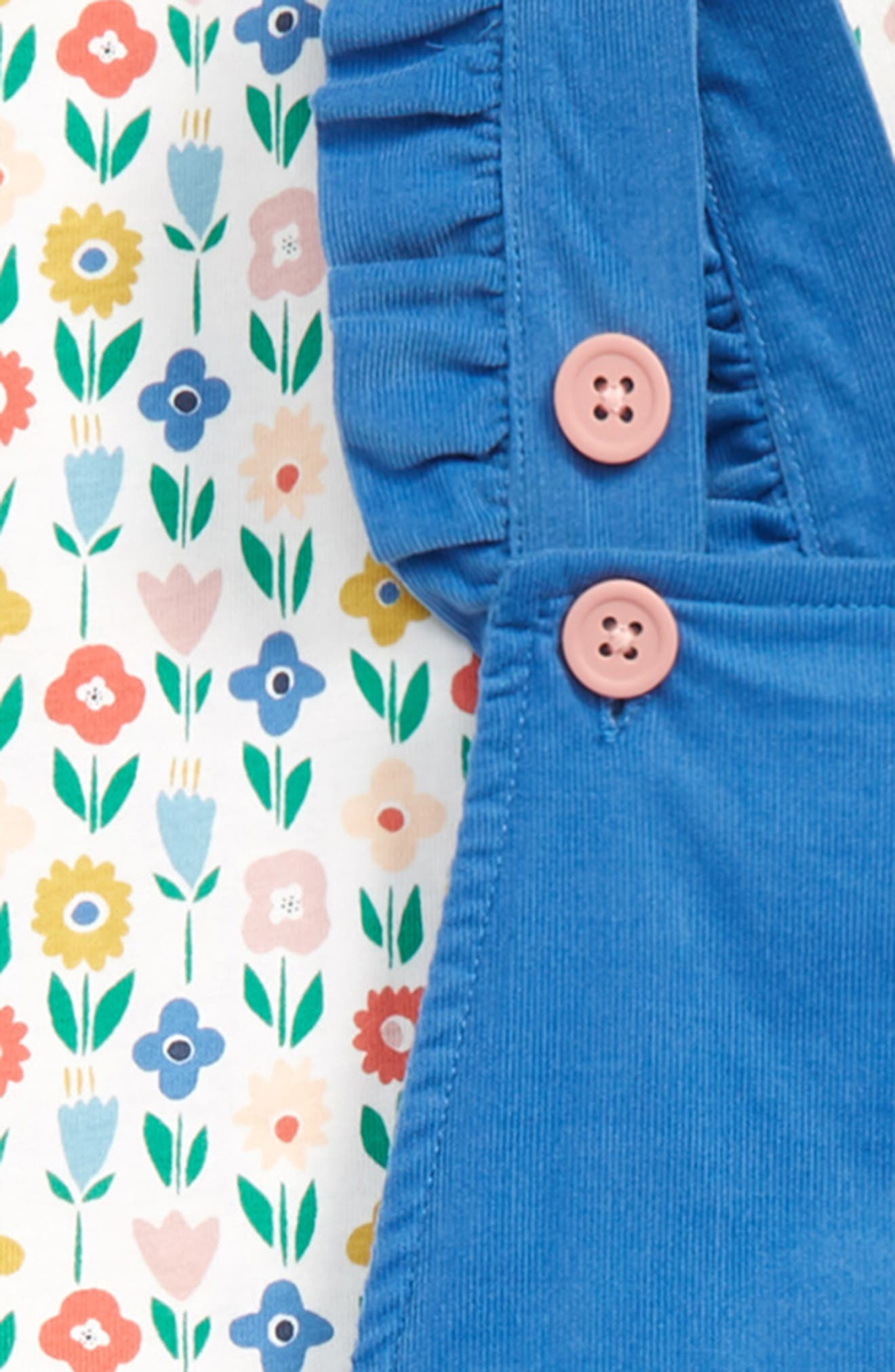 MINI BODEN,                             Flower Patch Tee & Frilly Corduroy Overalls Set,                             Alternate thumbnail 2, color,                             400