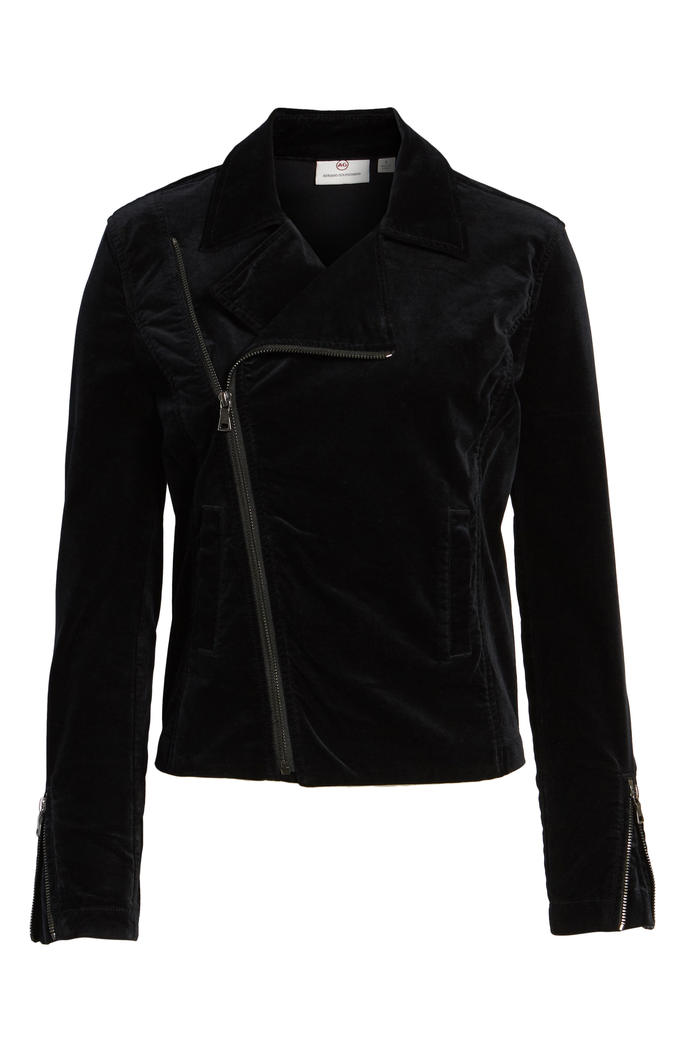 Quincy Velvet Biker Jacket,                             Alternate thumbnail 5, color,                             001