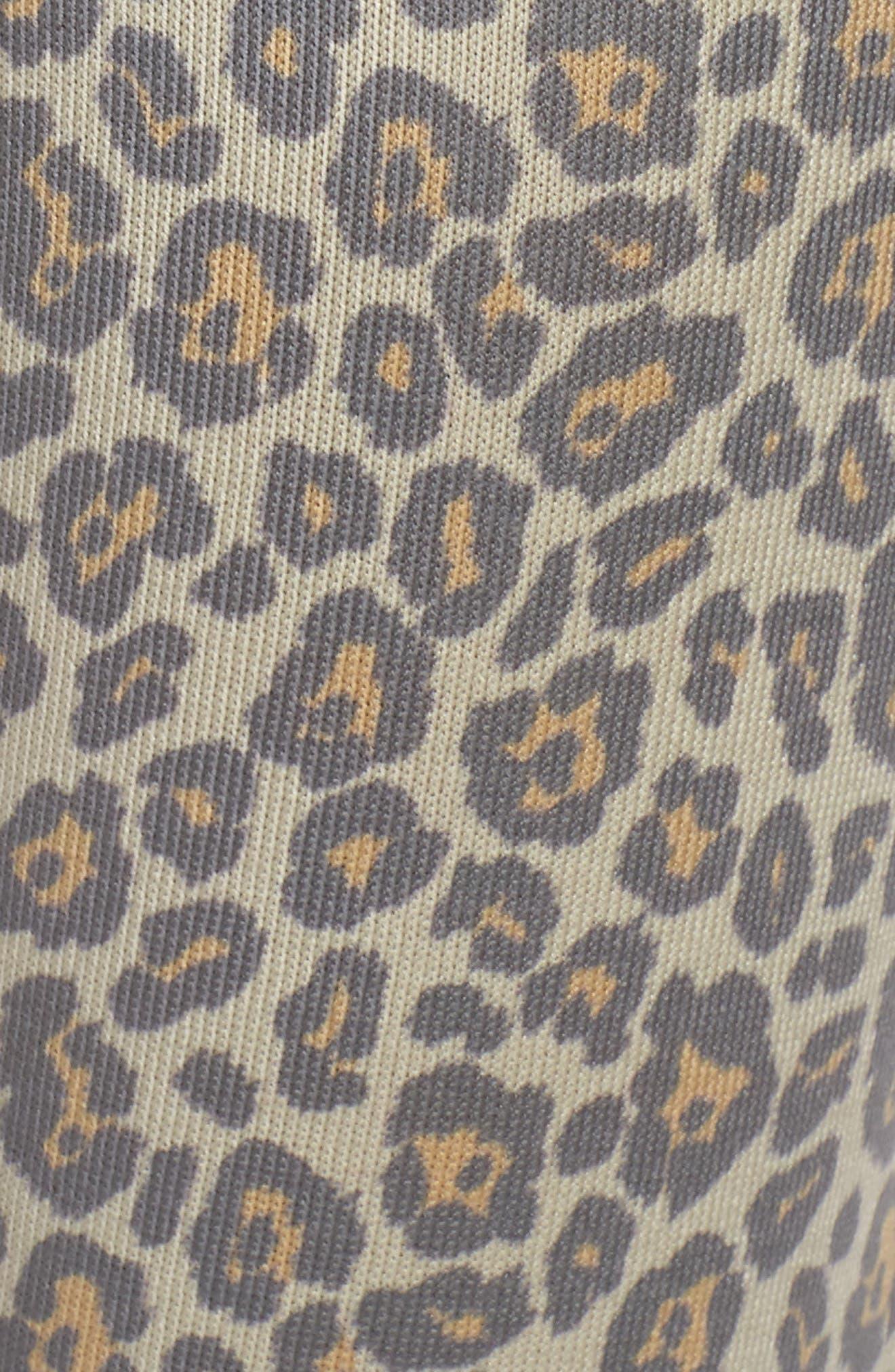 Leopard Knit Lounge Pant,                             Alternate thumbnail 5, color,                             BEIGE LEOPARD