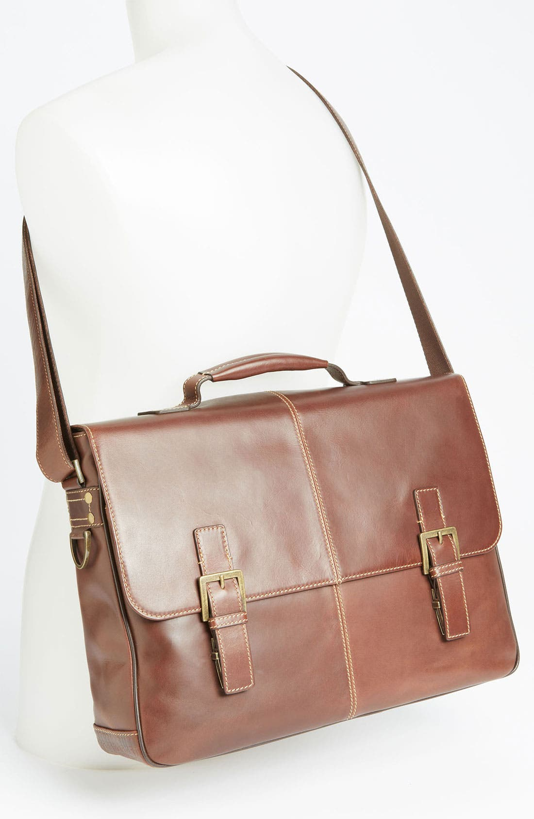 'Bryant' Leather Briefcase,                             Alternate thumbnail 4, color,                             ANTIQUE MAHOGANY