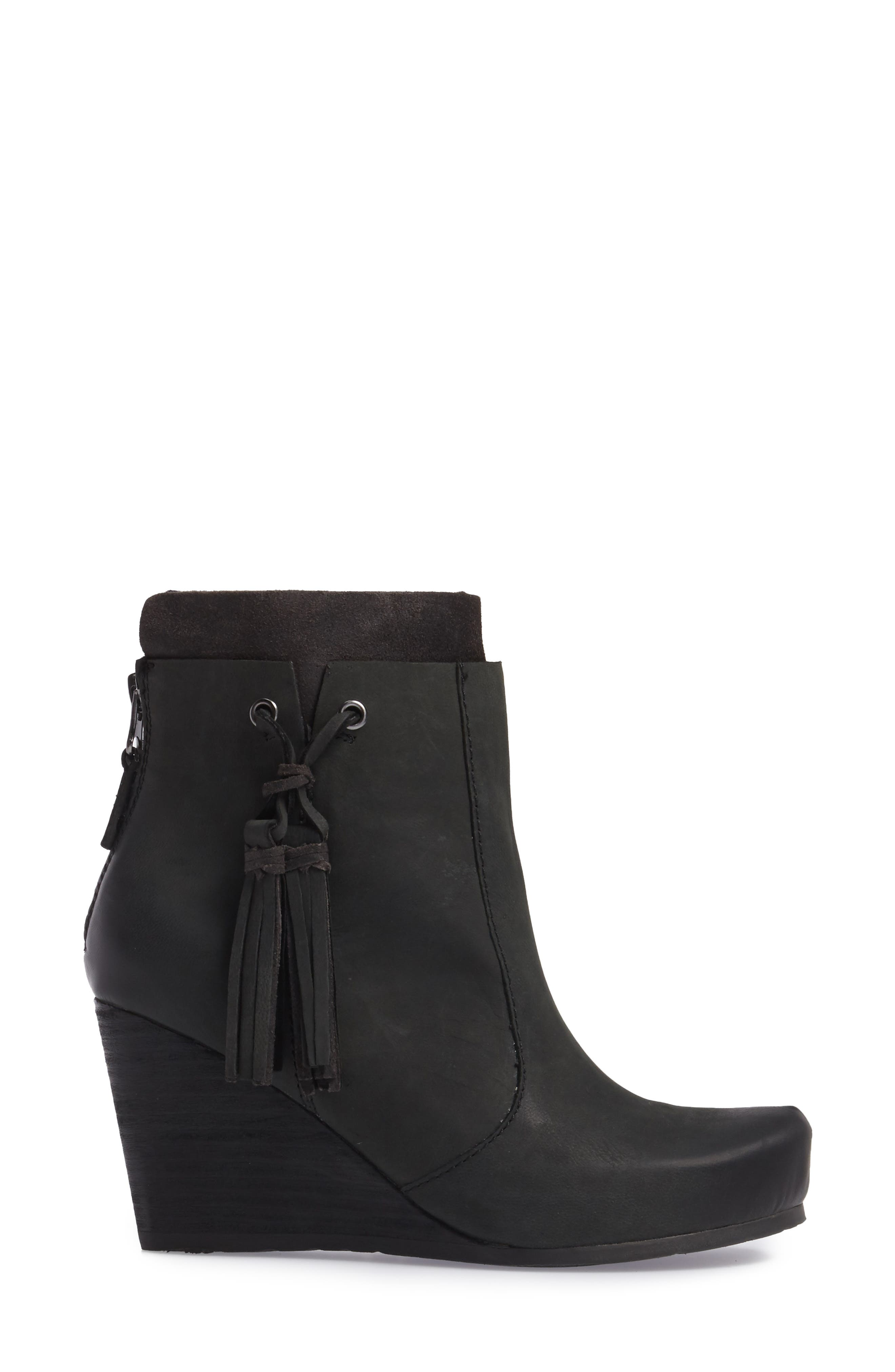 Vagary Wedge Bootie,                             Alternate thumbnail 3, color,                             BLACK LEATHER