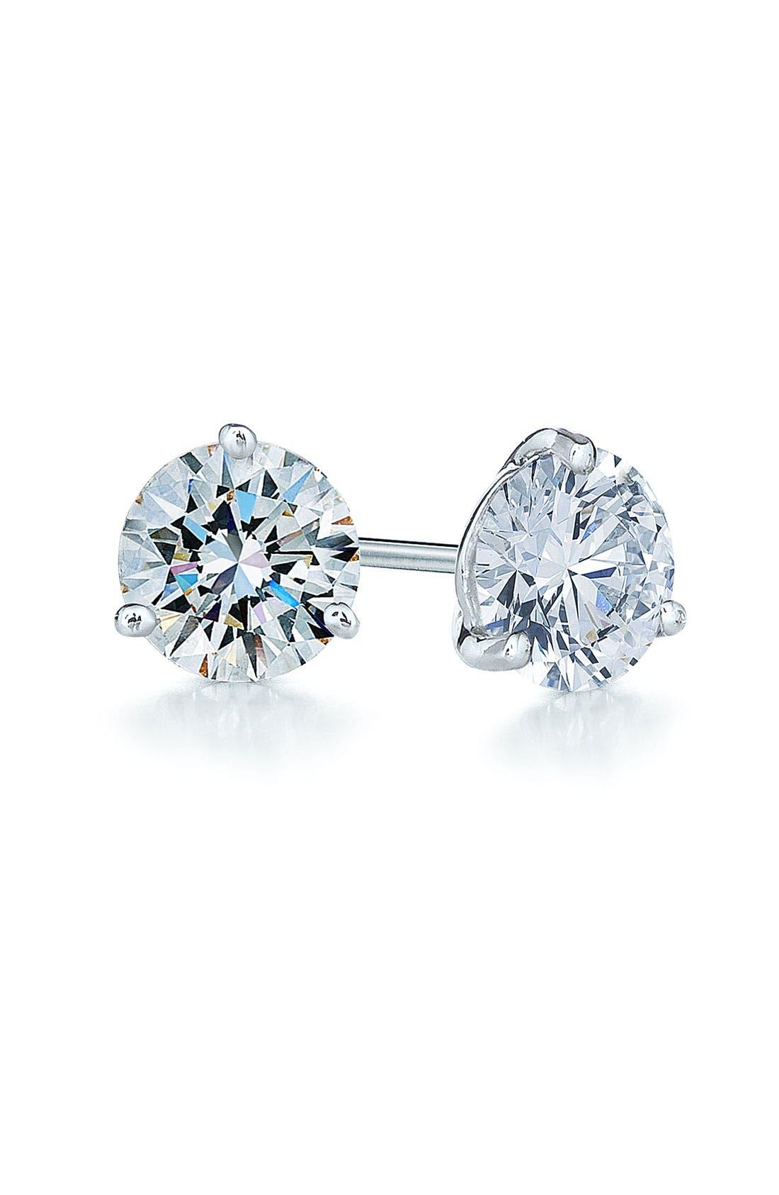 1.25ct tw Diamond & Platinum Stud Earrings,                             Main thumbnail 1, color,                             PLATINUM