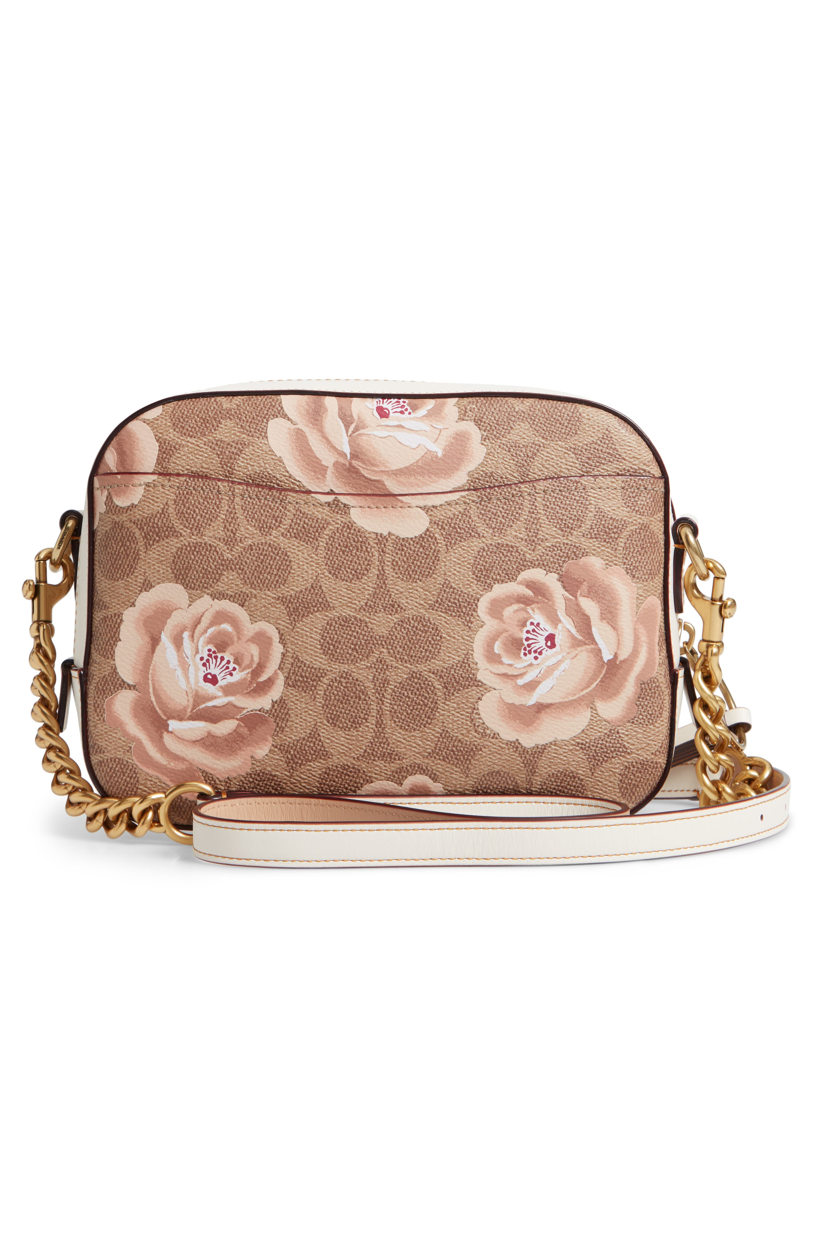Signature Rose Coated Canvas Camera Bag,                             Alternate thumbnail 3, color,                             250