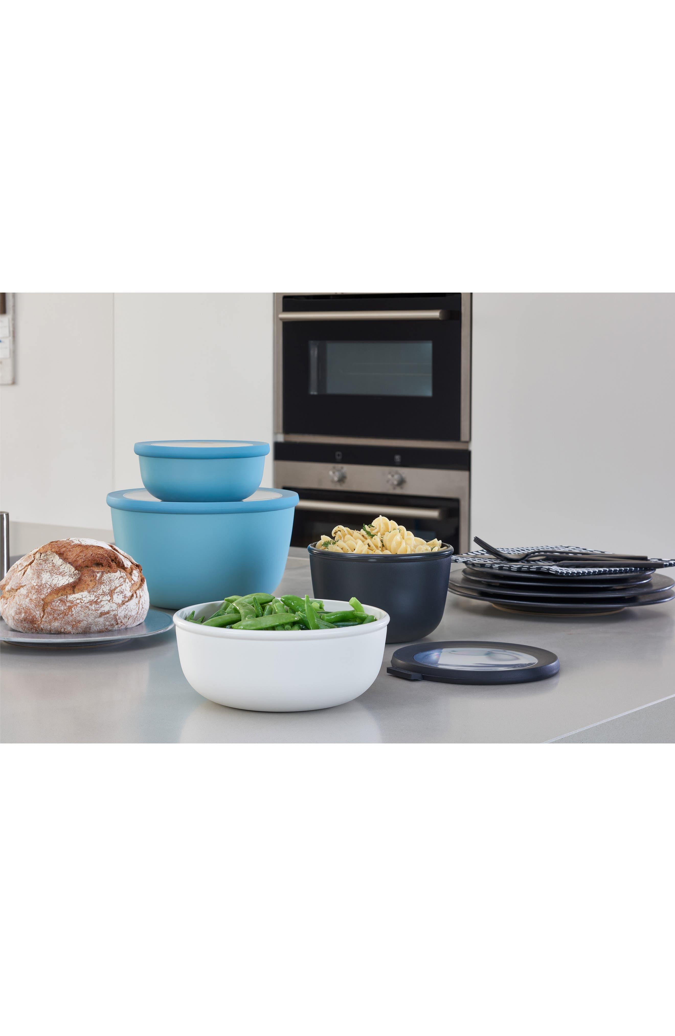 Cirqula Set of 4 Storage Bowls,                             Alternate thumbnail 6, color,                             BLACK