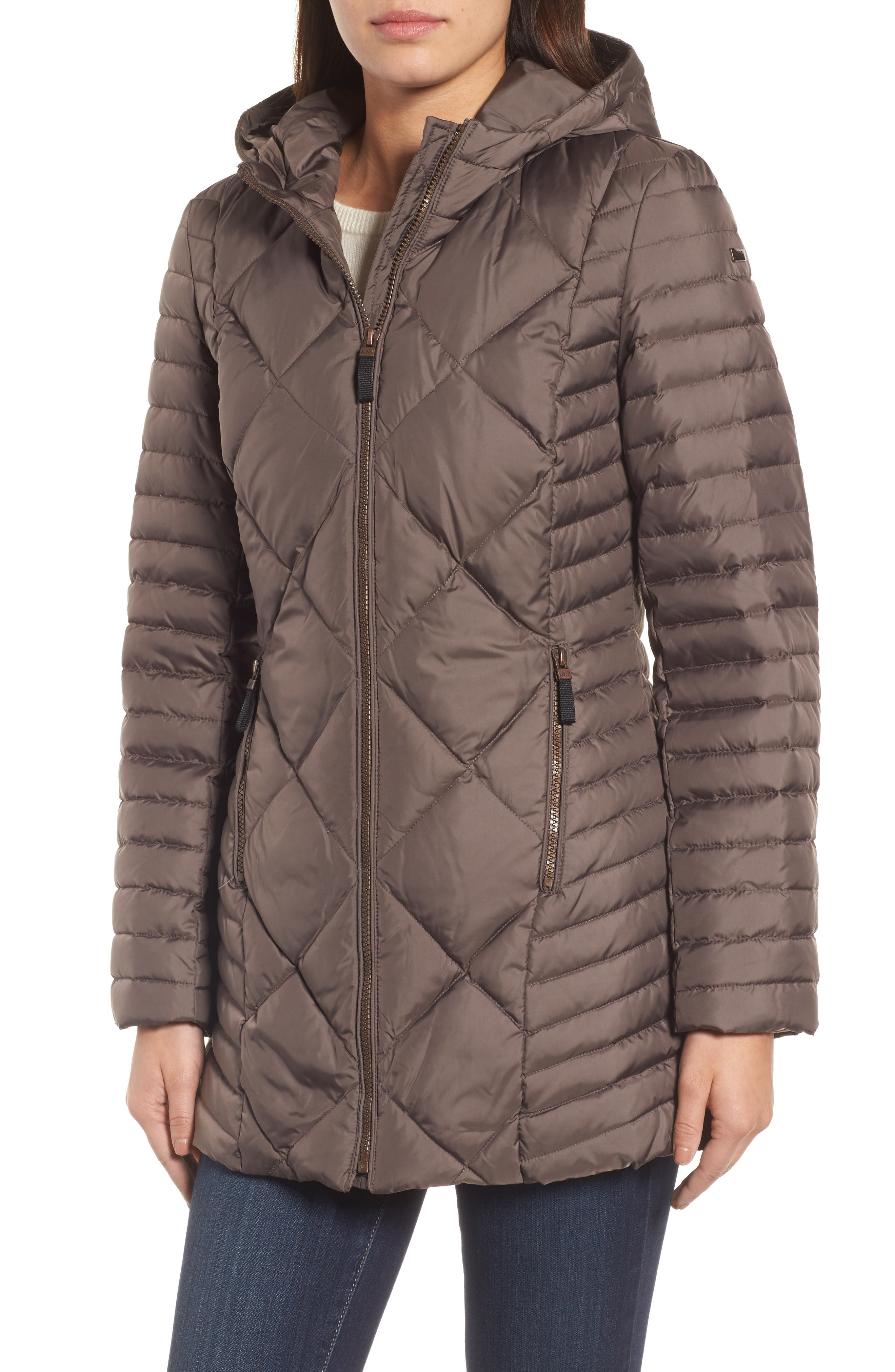 Hooded Coat with Genuine Coyote Fur Trim,                             Alternate thumbnail 4, color,                             072