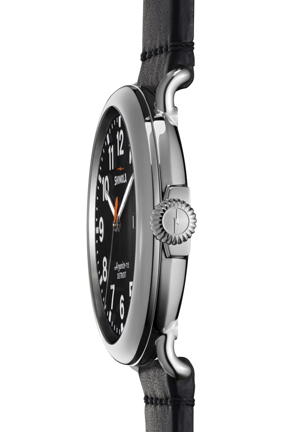 'The Runwell' Round Leather Strap Watch, 47mm,                             Alternate thumbnail 2, color,                             001