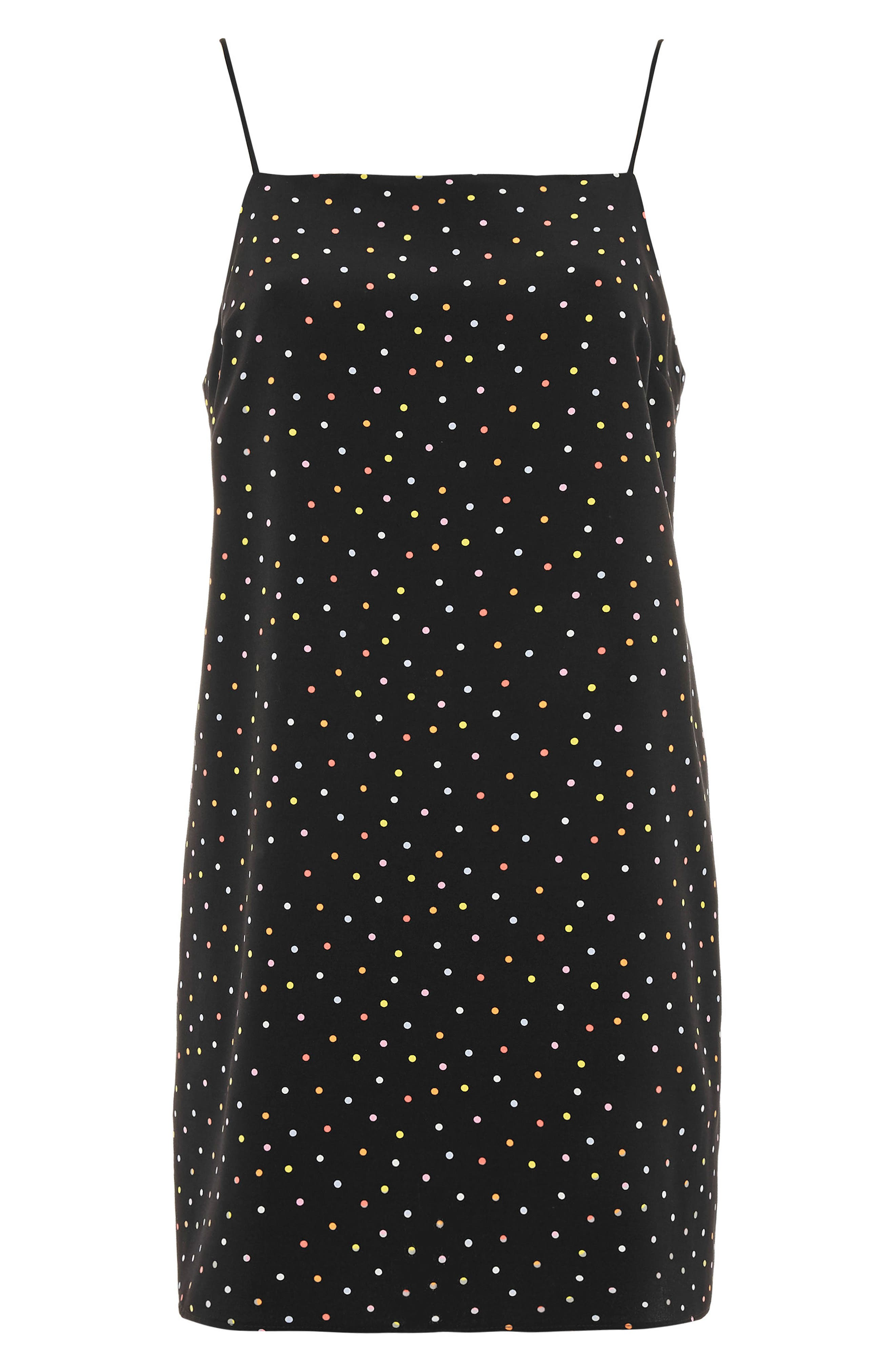 Square Neck Polka Dot Dress,                             Alternate thumbnail 4, color,                             001