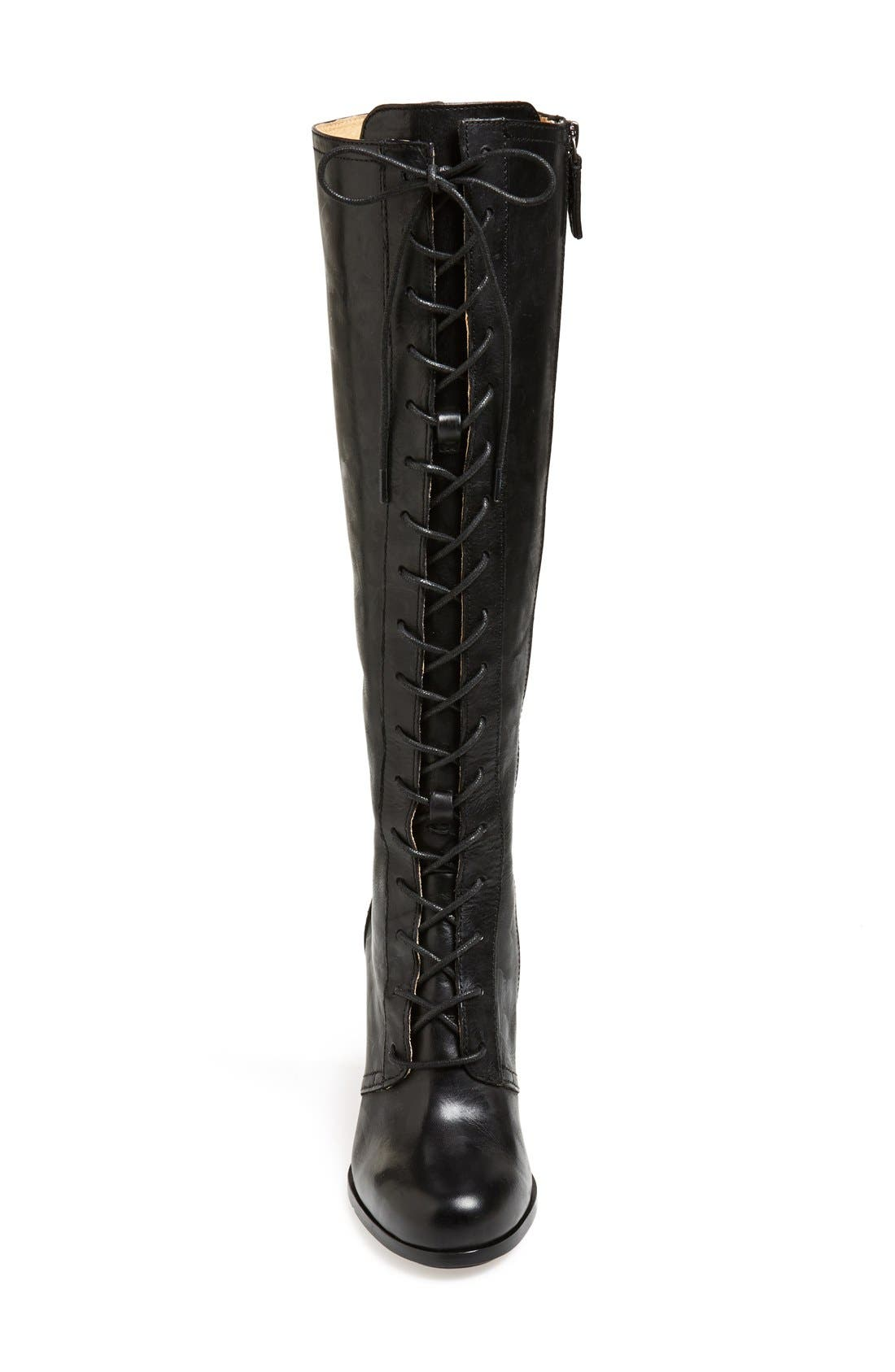 'Parker' Lace-Up Tall Boot,                             Alternate thumbnail 2, color,                             001