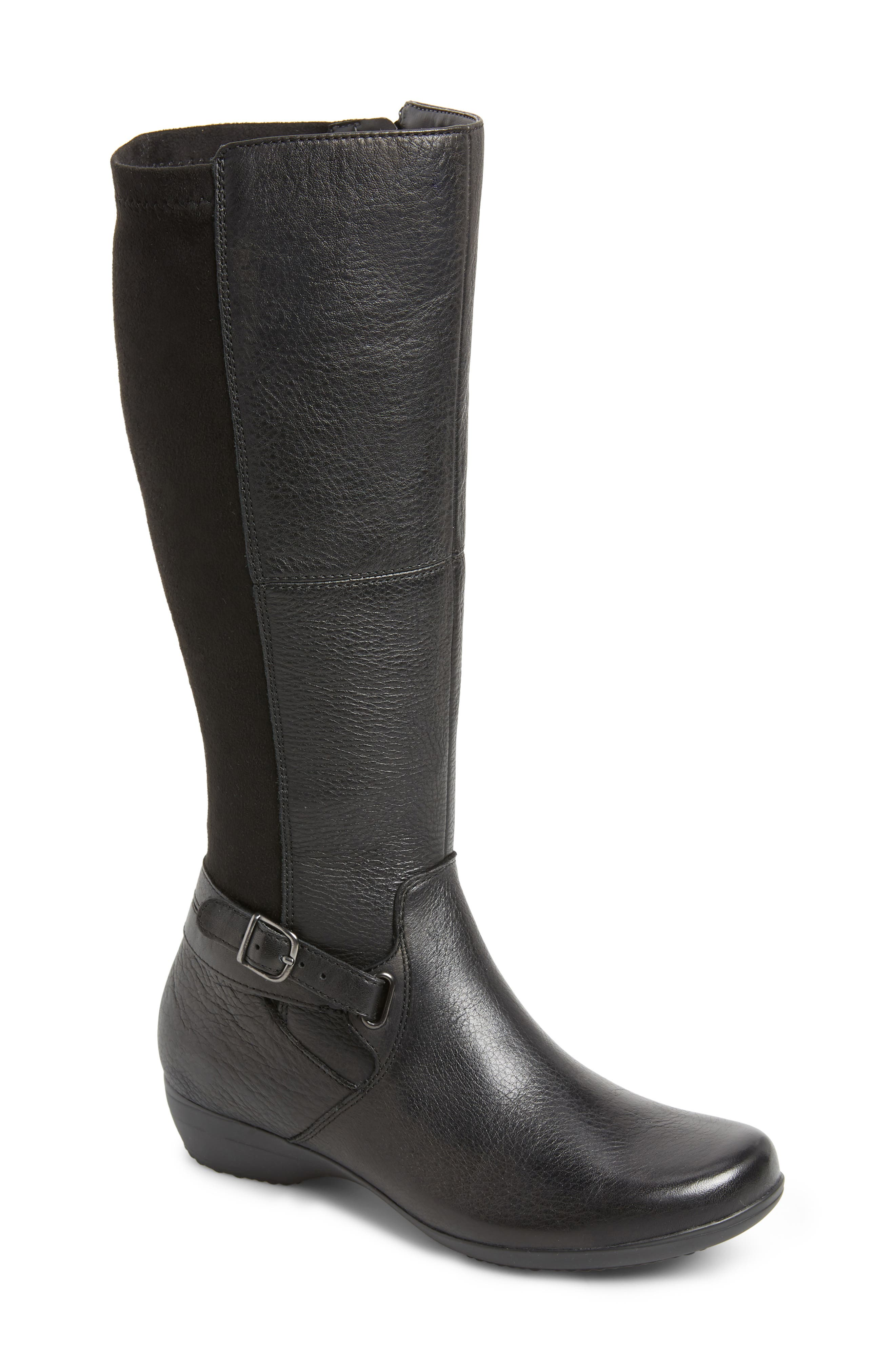 Francesca Knee High Riding Boot in Black Leather