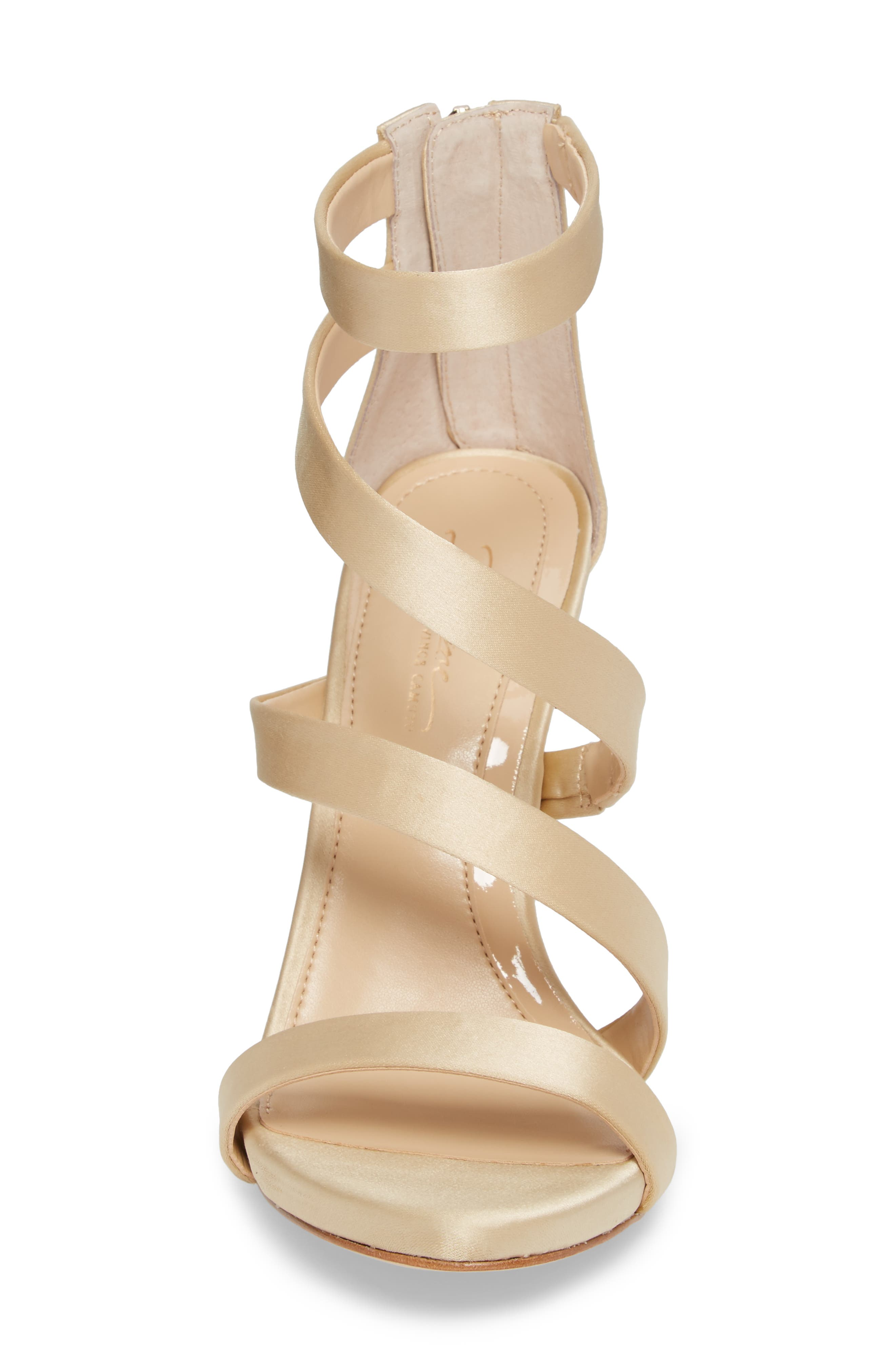Imagine Vince Camuto Dalles Tall Strappy Sandal,                             Alternate thumbnail 4, color,                             SOFT GOLD SATIN