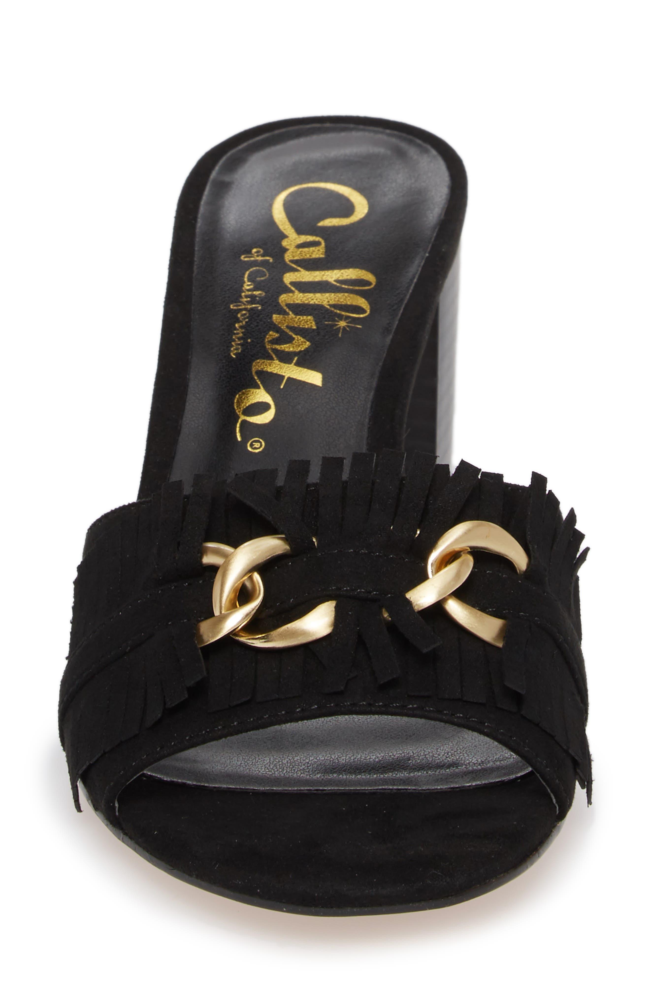Zinnia Block Heel Slide Sandal,                             Alternate thumbnail 4, color,                             BLACK SUEDE